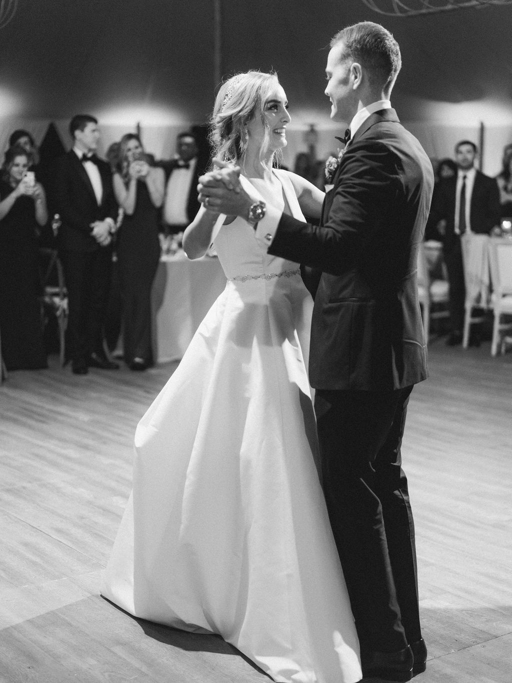 wedding couple dancing at indoor reception
