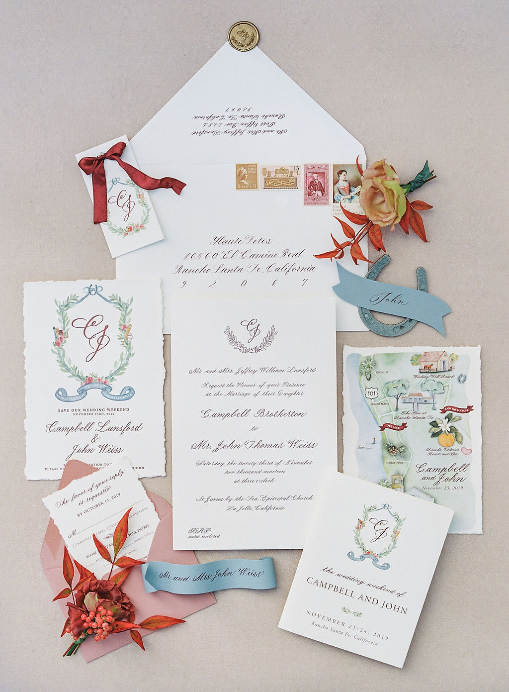 red, blue and white scripted wedding invitations