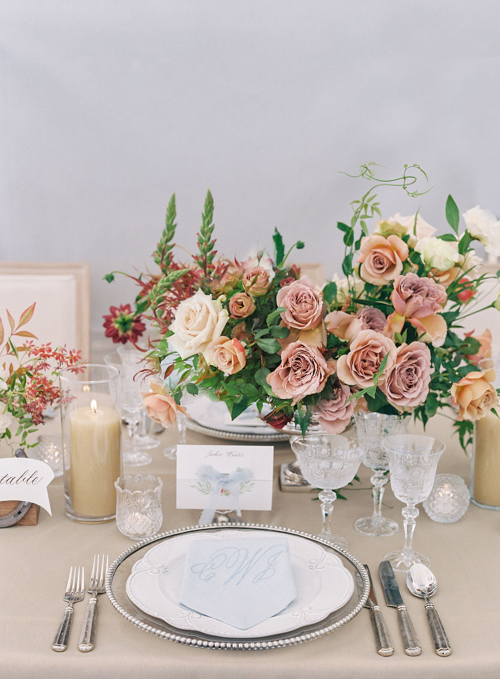 wedding reception neutral and fall tones place setting