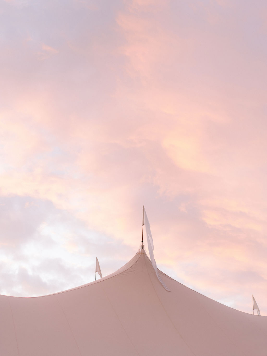 wedding tent with cotton candy sunset above