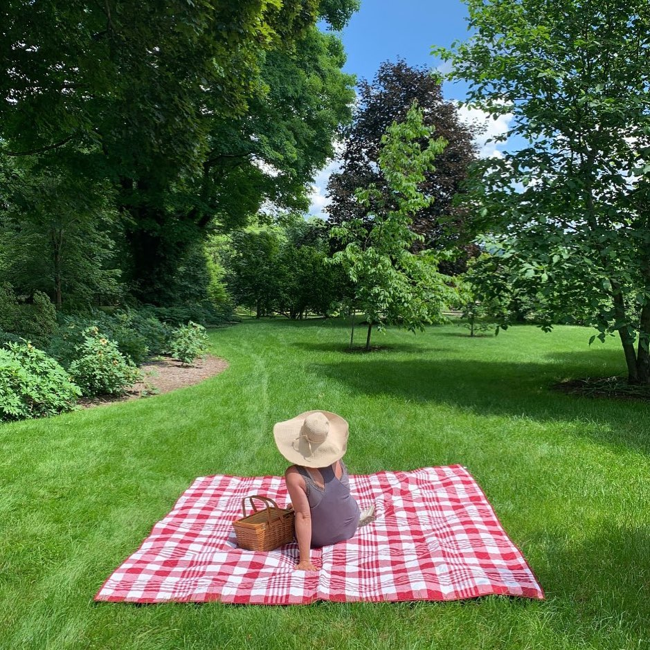 woman on red-and-white picnic blanket