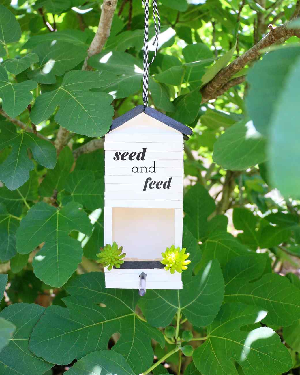 carton bird feeder surrounded by leaves