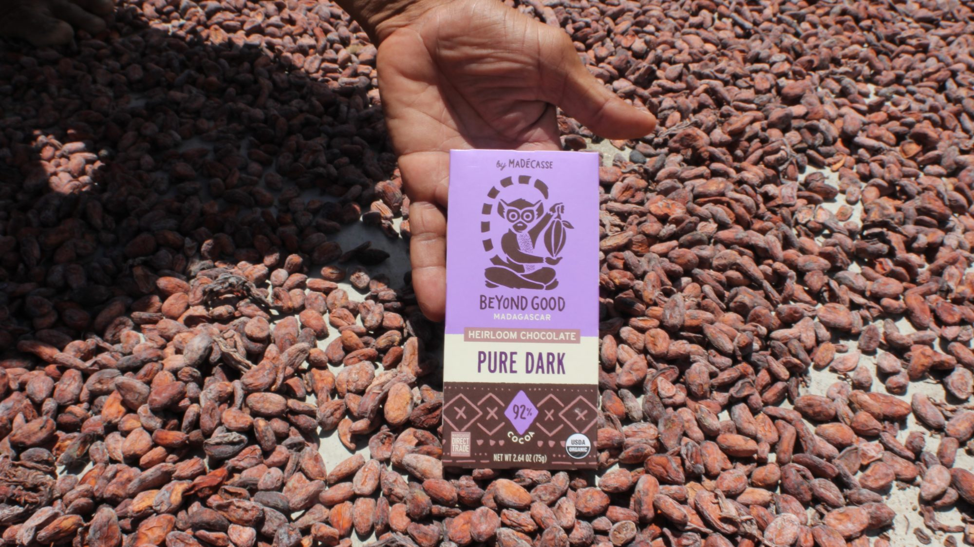 Madecasse chocolate bar and cacao beans
