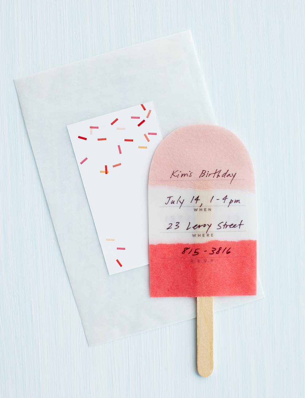 pink and red popsicle invitation