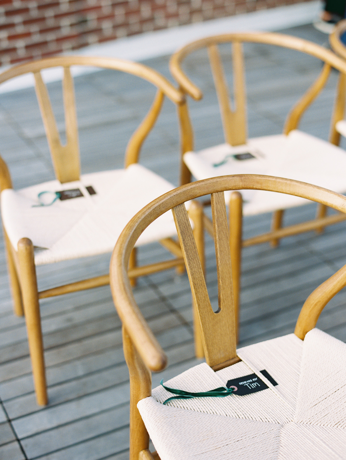 wedding ceremony guest chairs with name tags