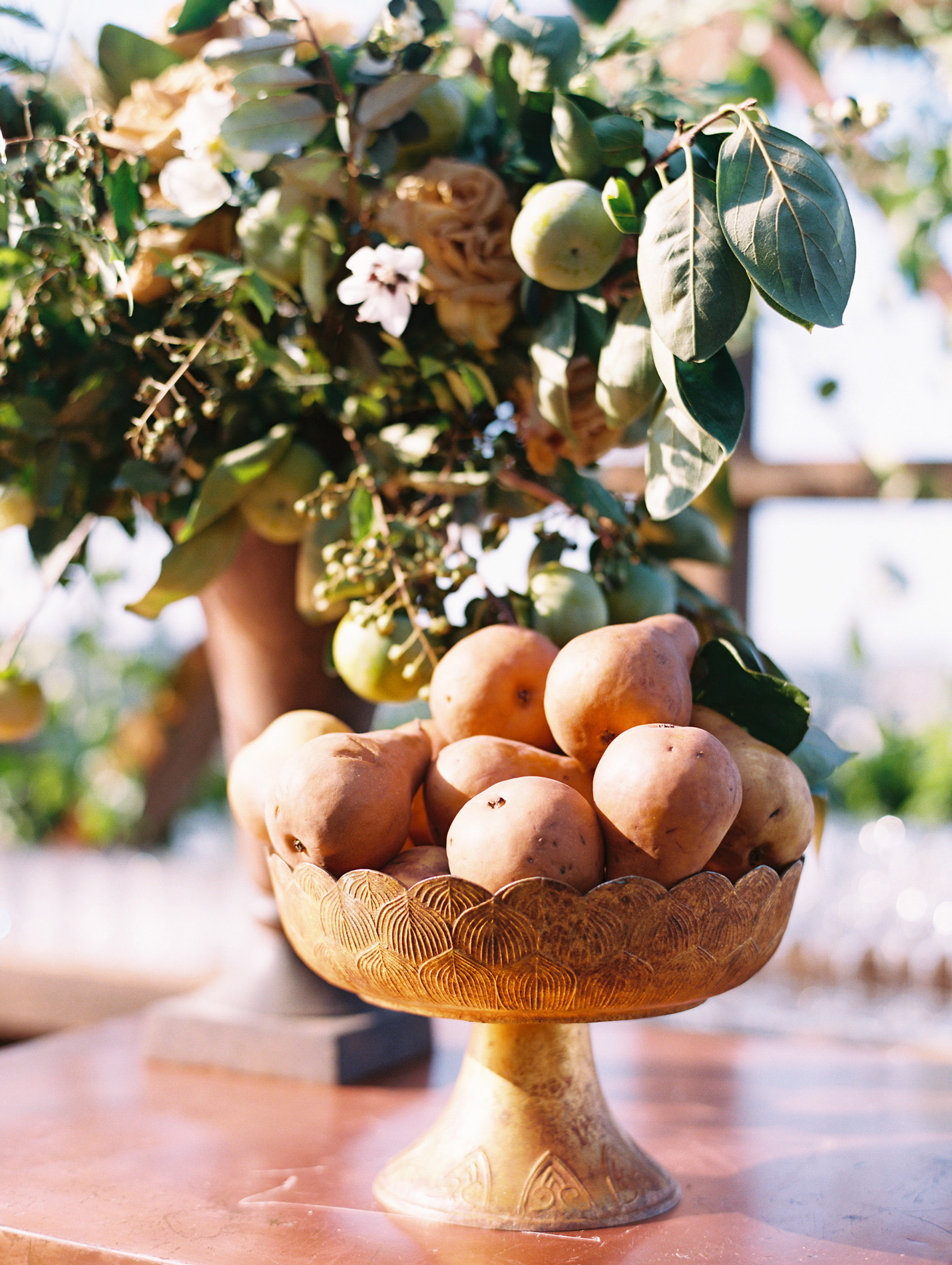decorative fruit bowl with stand holding pears