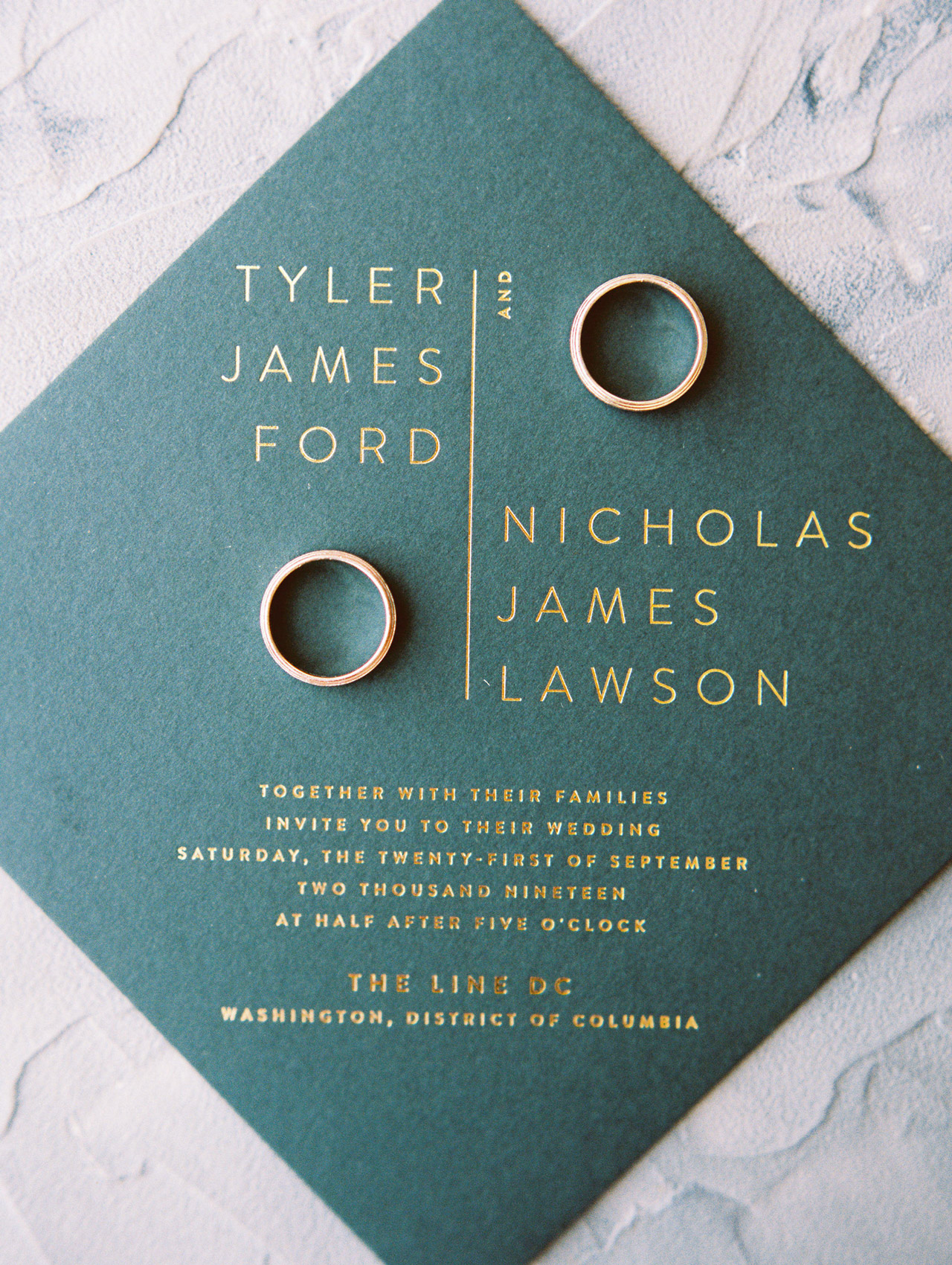 close-up of diamond-shaped invite