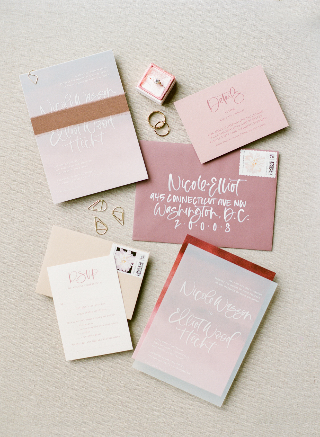 pink ombre wedding stationery suite