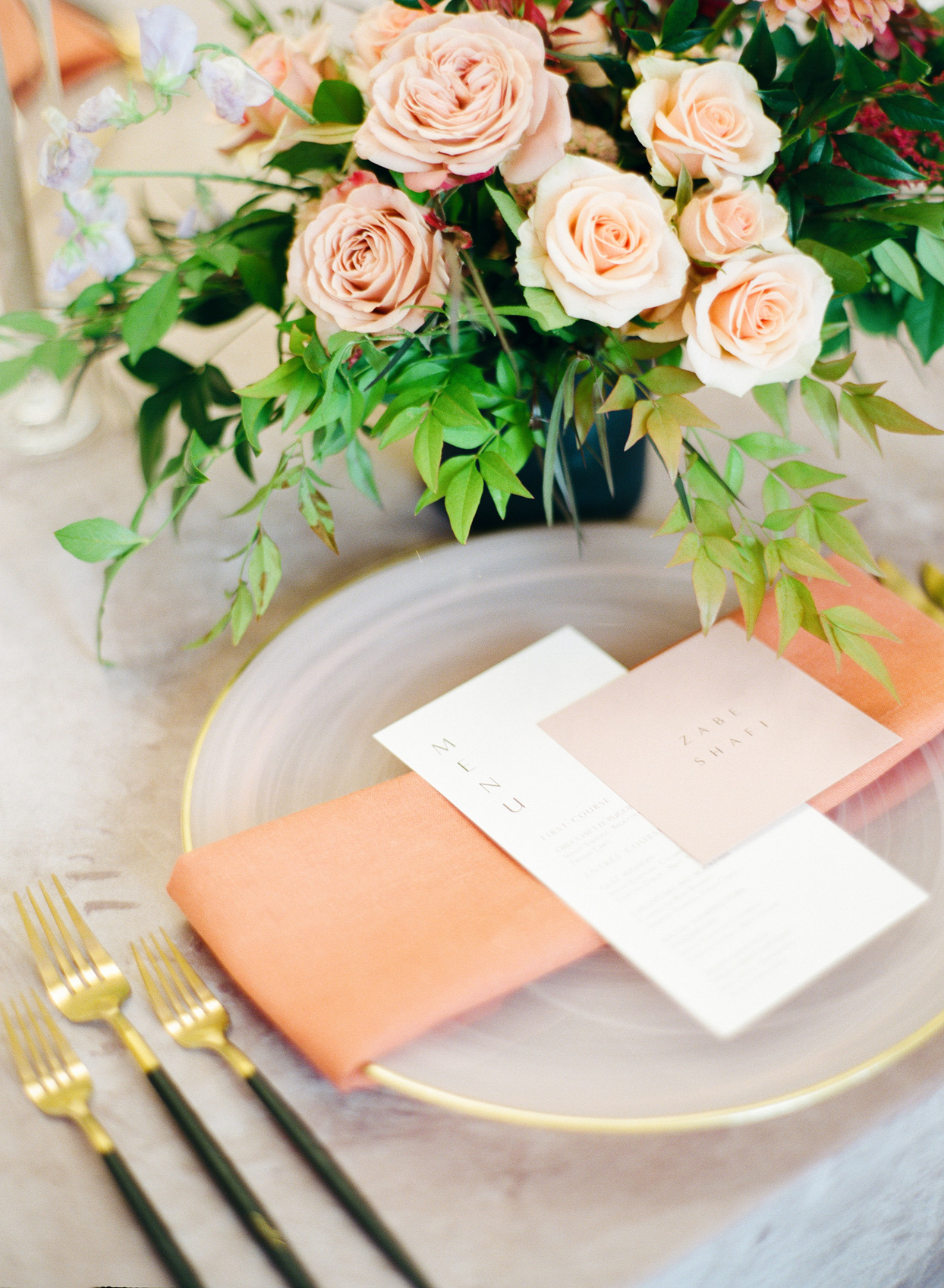 gold and orange place-setting