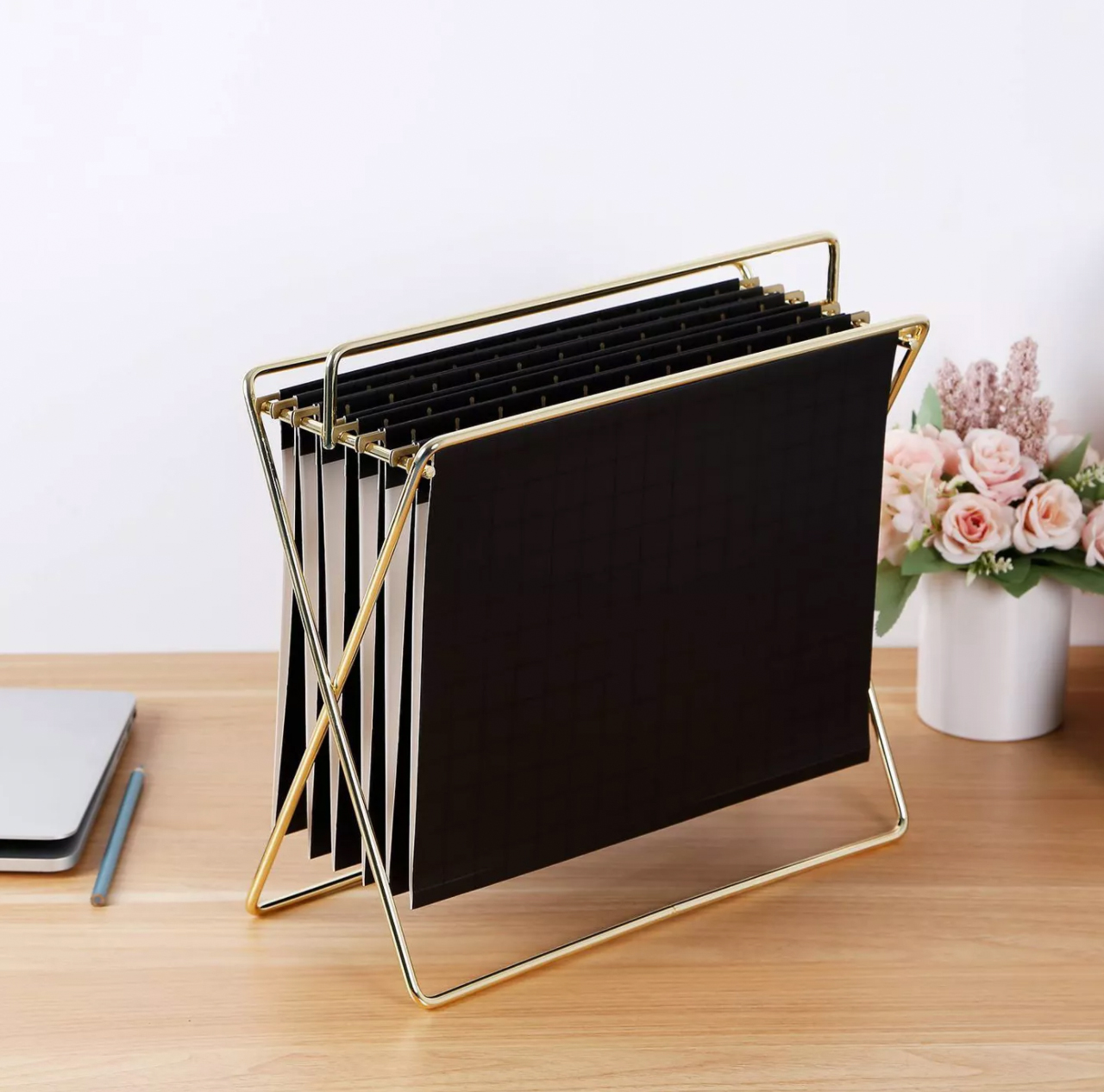 project 62 hanging file holder with folders in gold and black grid