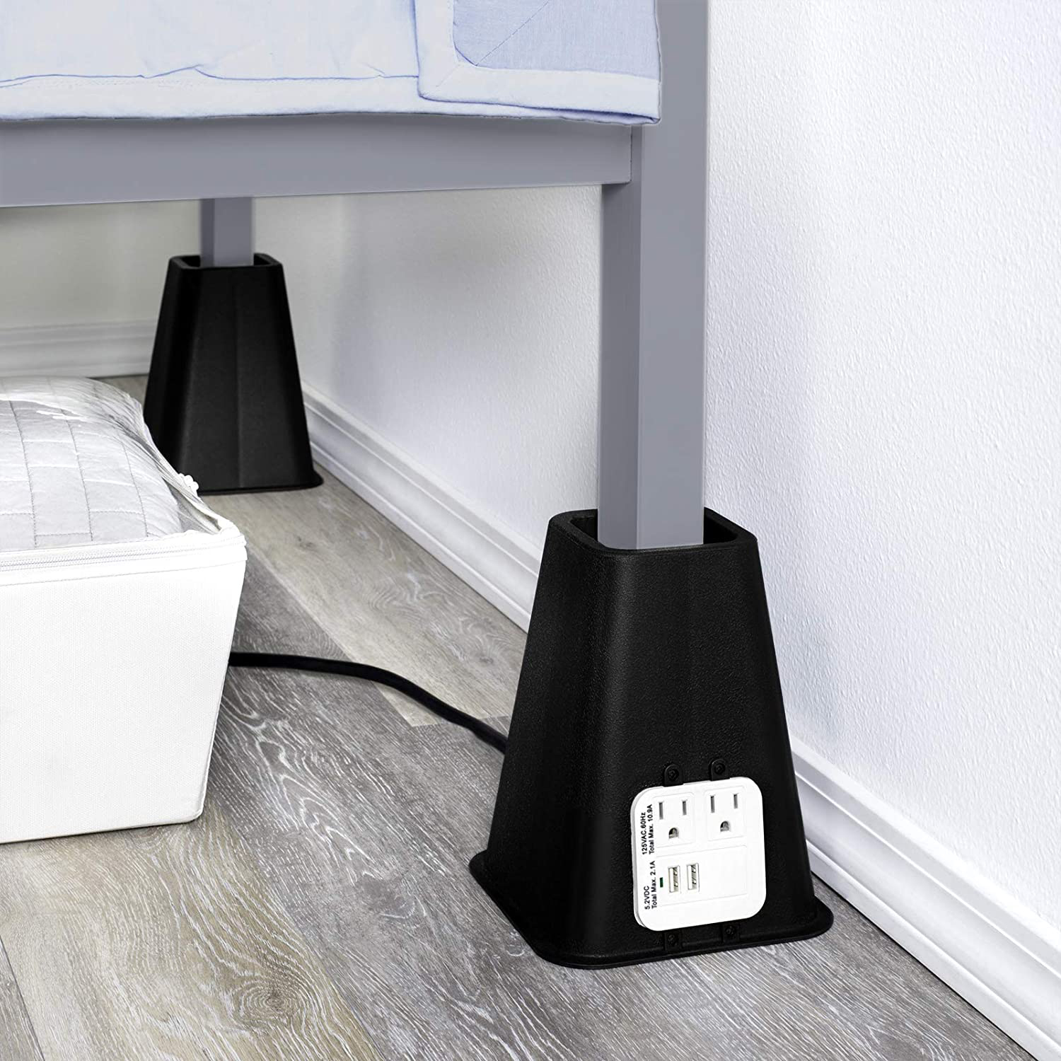 hold n storage bed risers with power outlet and usb ports