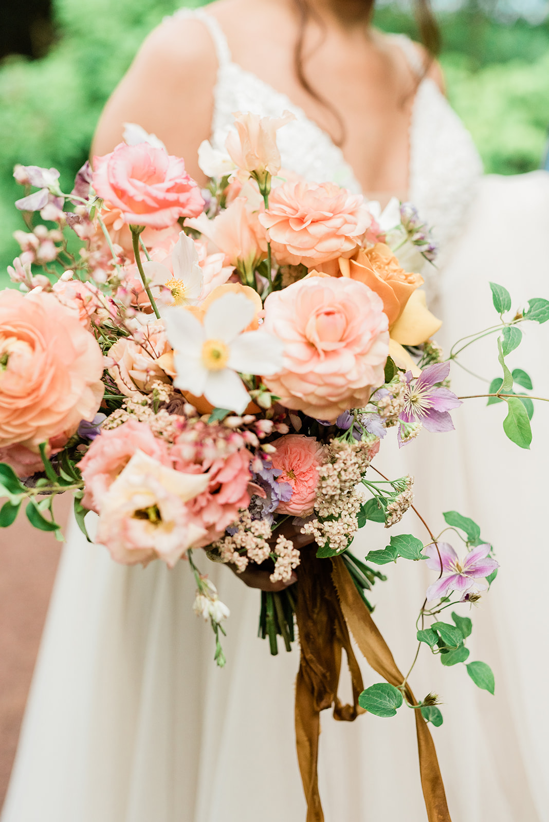 Loose Wedding Bouquet with Pink and White Flowers