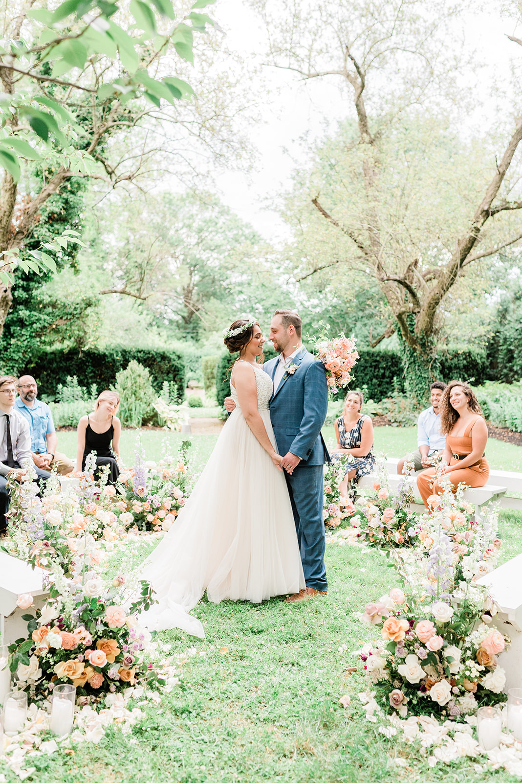 Micro Wedding with Ceremony in the Round and Colorful Flowers