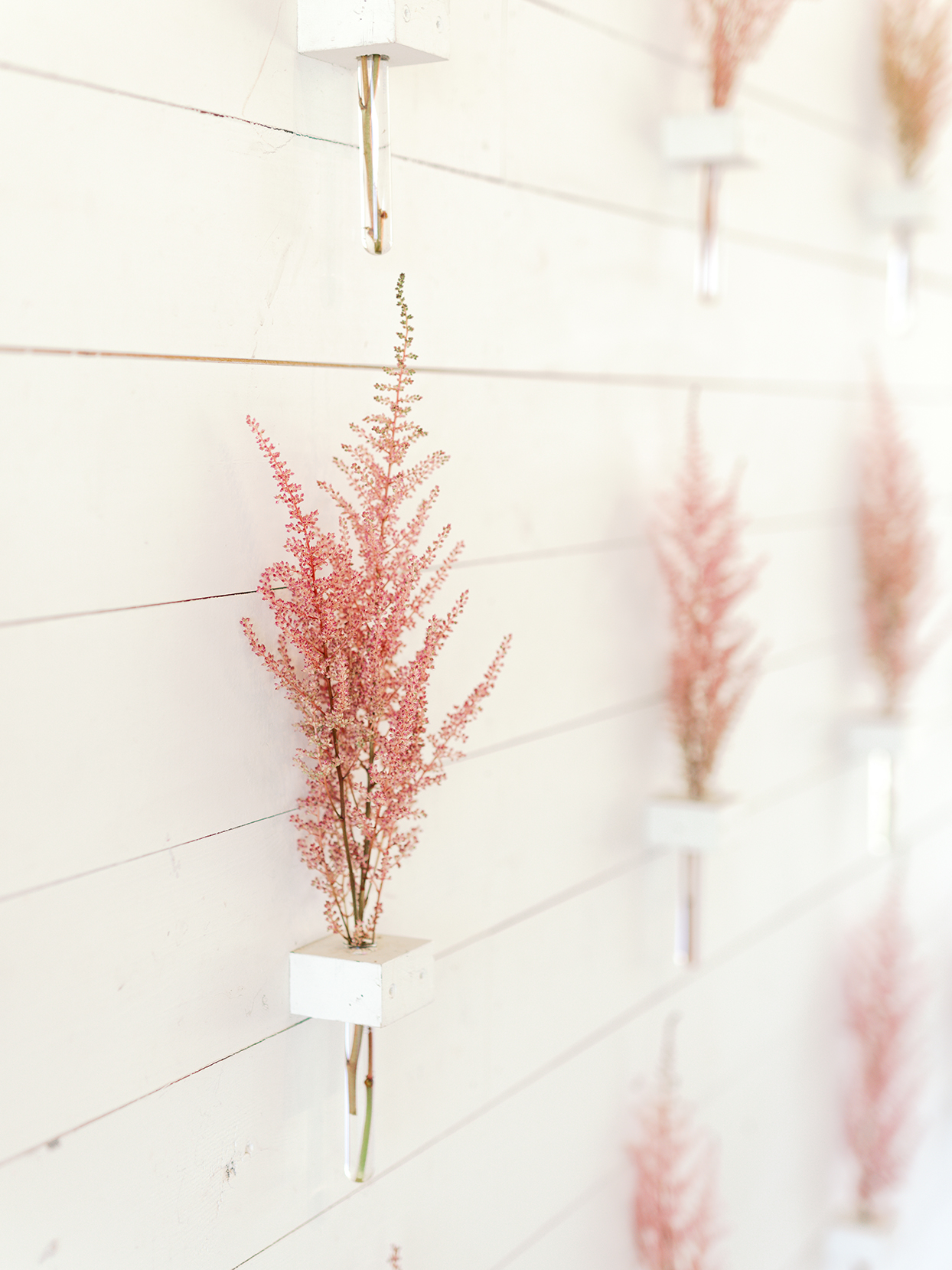 light pink floral decorations against white wooden wall