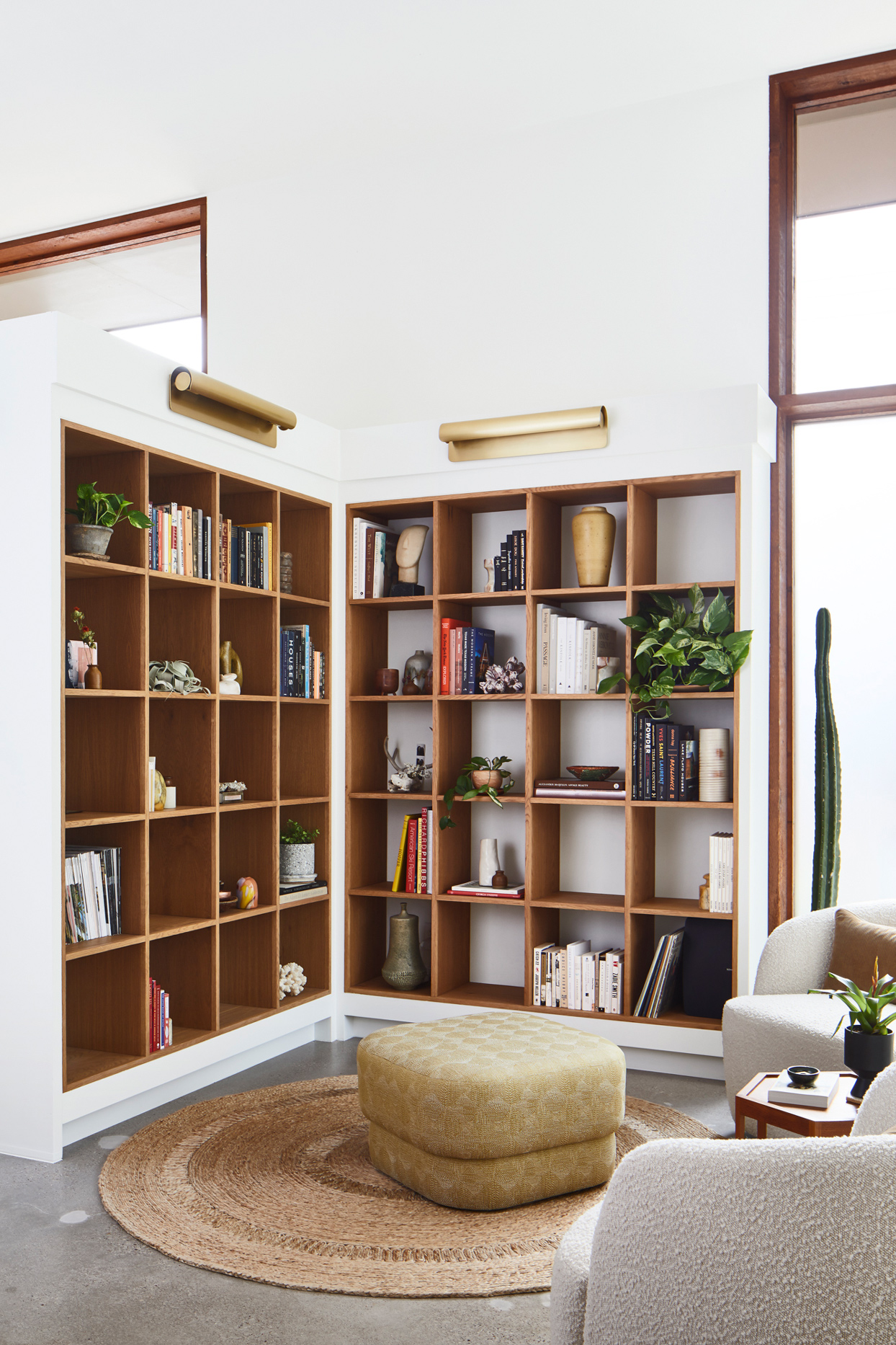 wooden l-shaped floating library wall