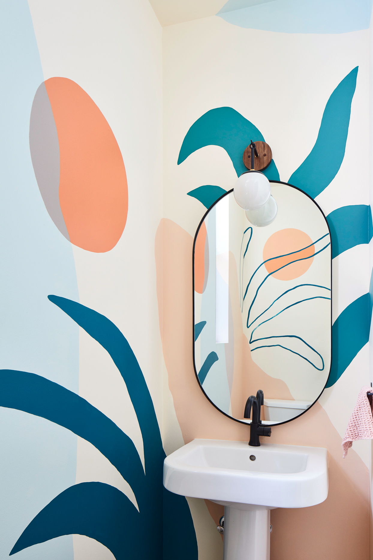 powder room with tropical mural