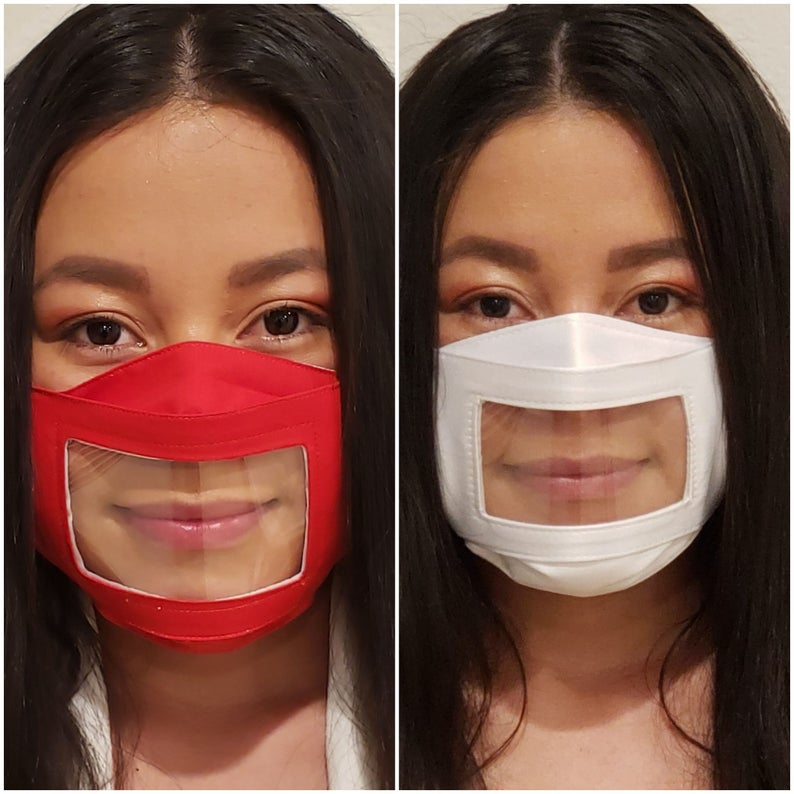 anti-fog face mask in red and white