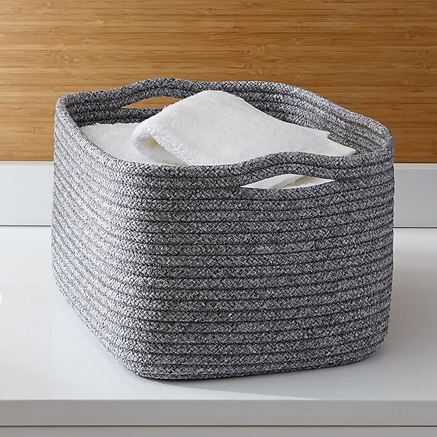 Crate and Barrel Lupe Grey Braided Basket