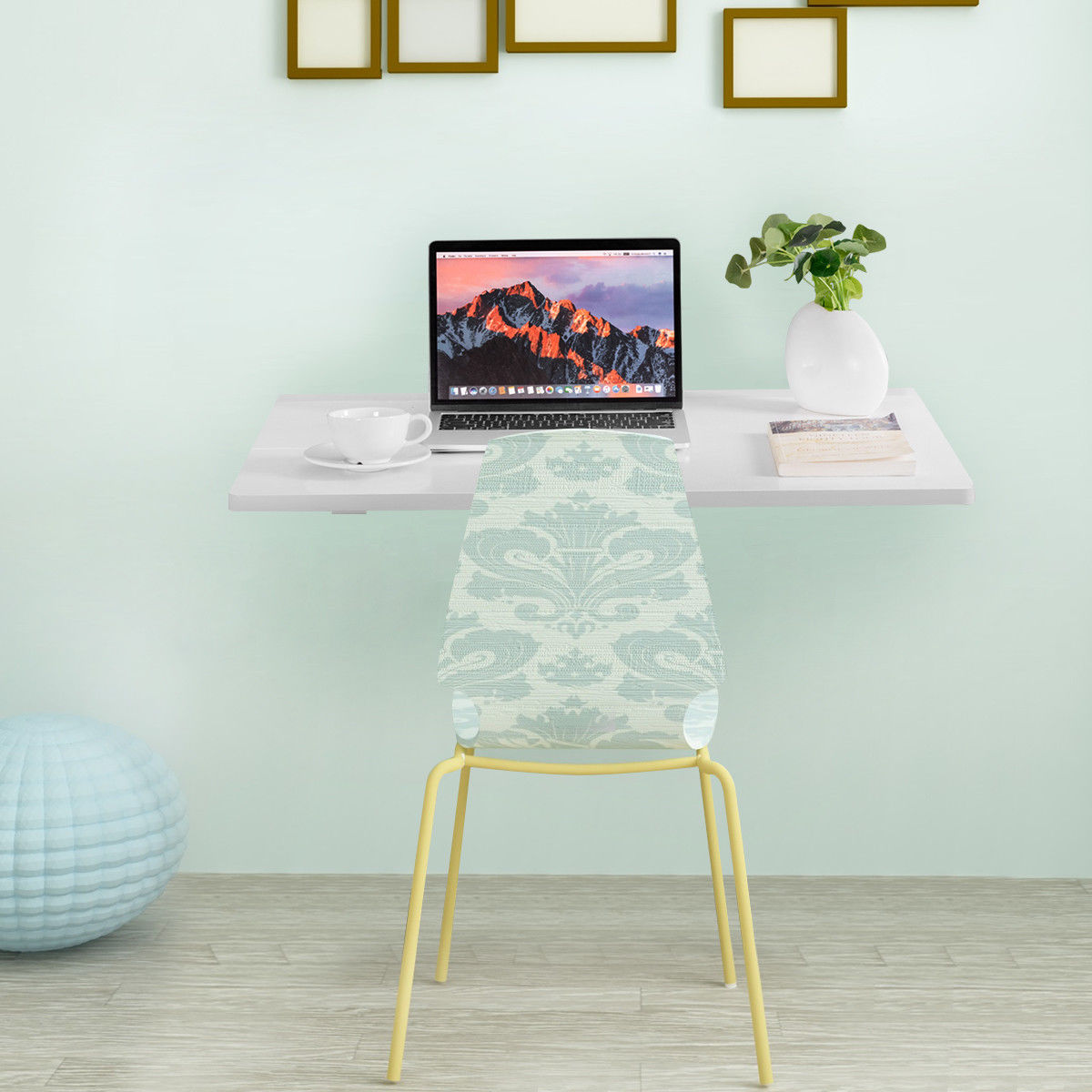 Gymax Wall-Mounted Drop-Leaf Table