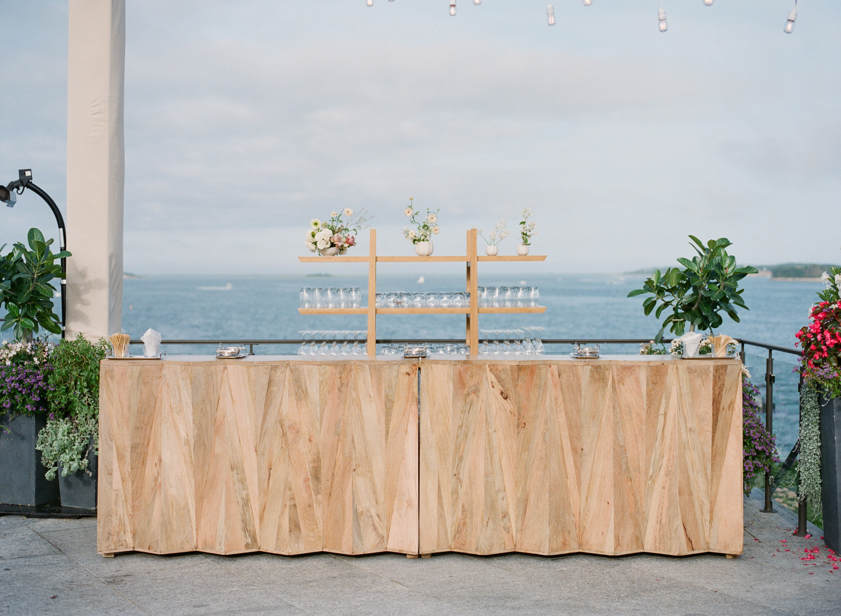 wooden wedding bar with sea views