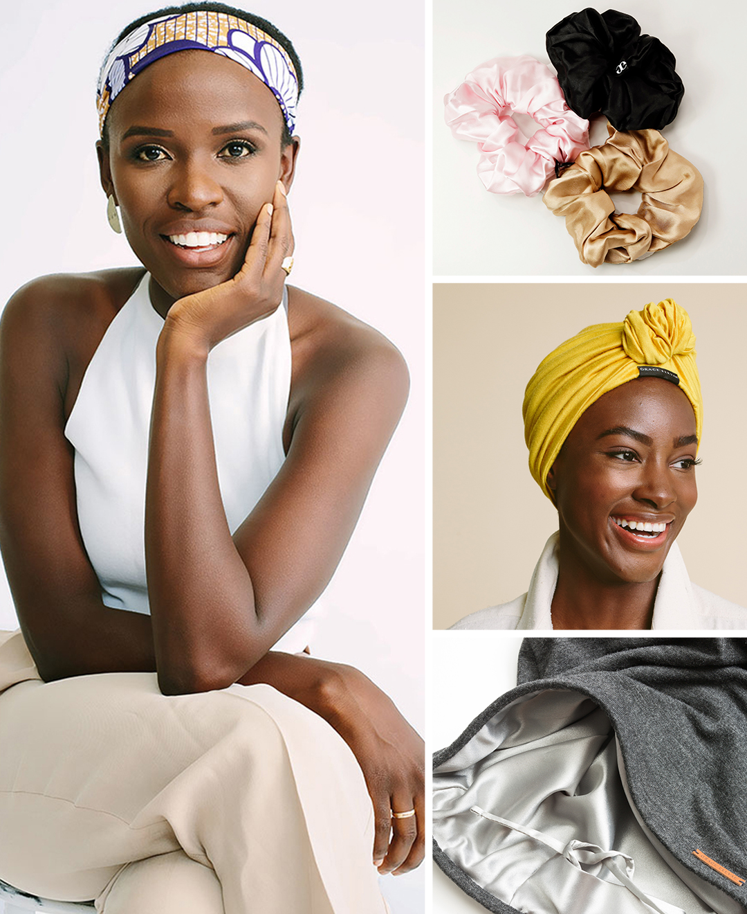 grace eleyae alongside her signature silk-lined turban, scrunchies, and slap hair care products
