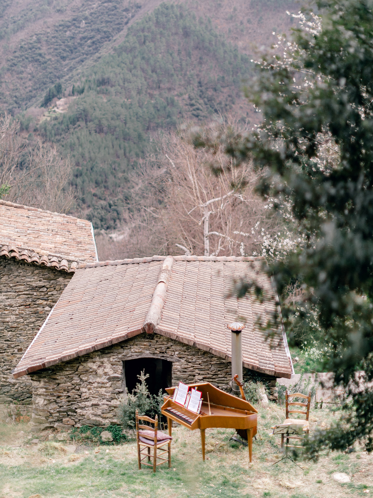 harpsichord positioned on french country hillside
