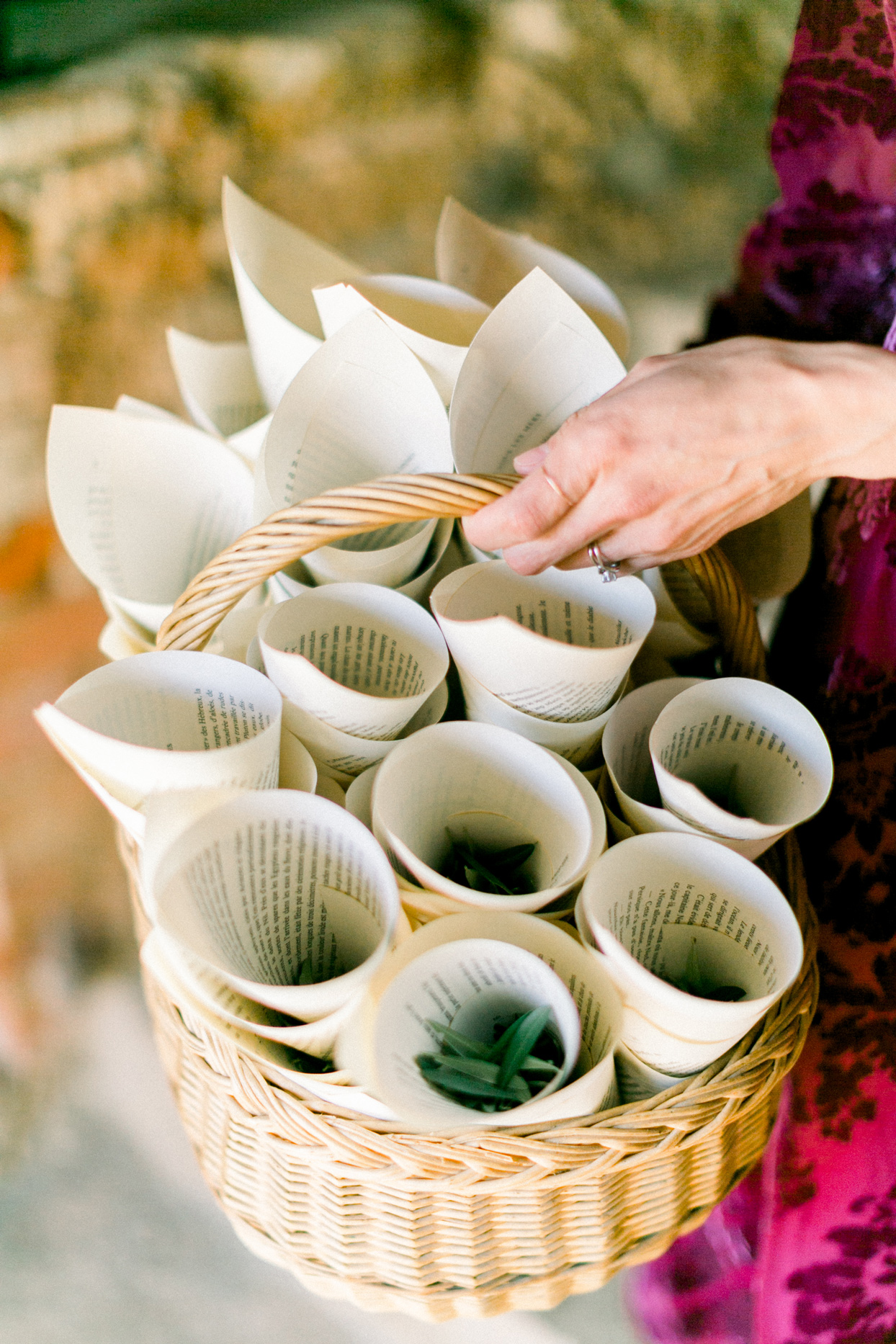 basket of paper cones containing olive leaves