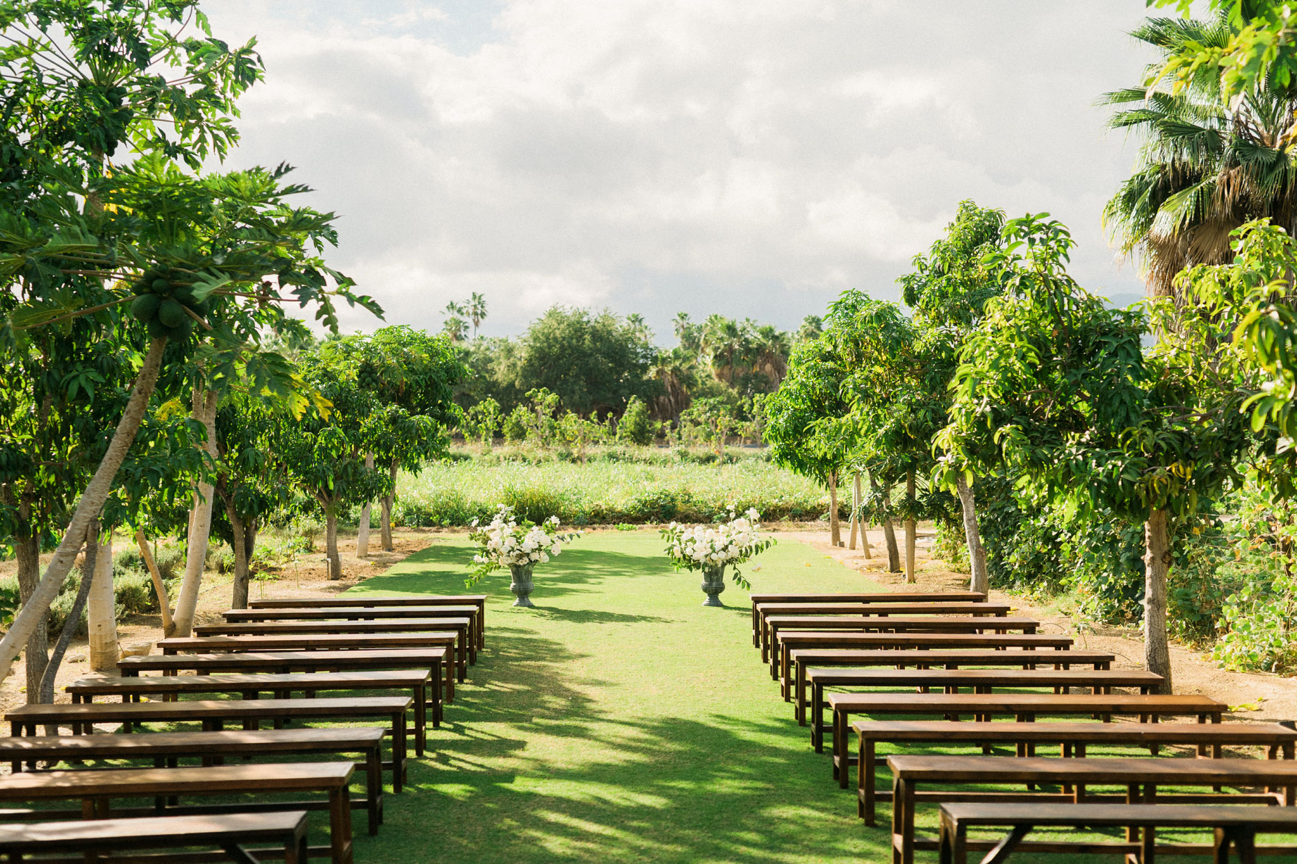outdoor wedding ceremony in garden with wooden benches for guests