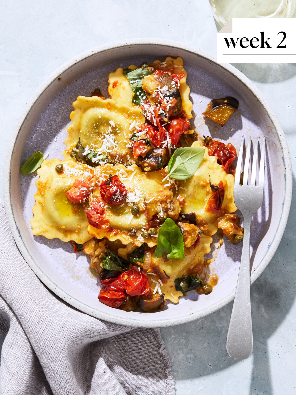 ravioli with roasted eggplant, tomatoes, and capers