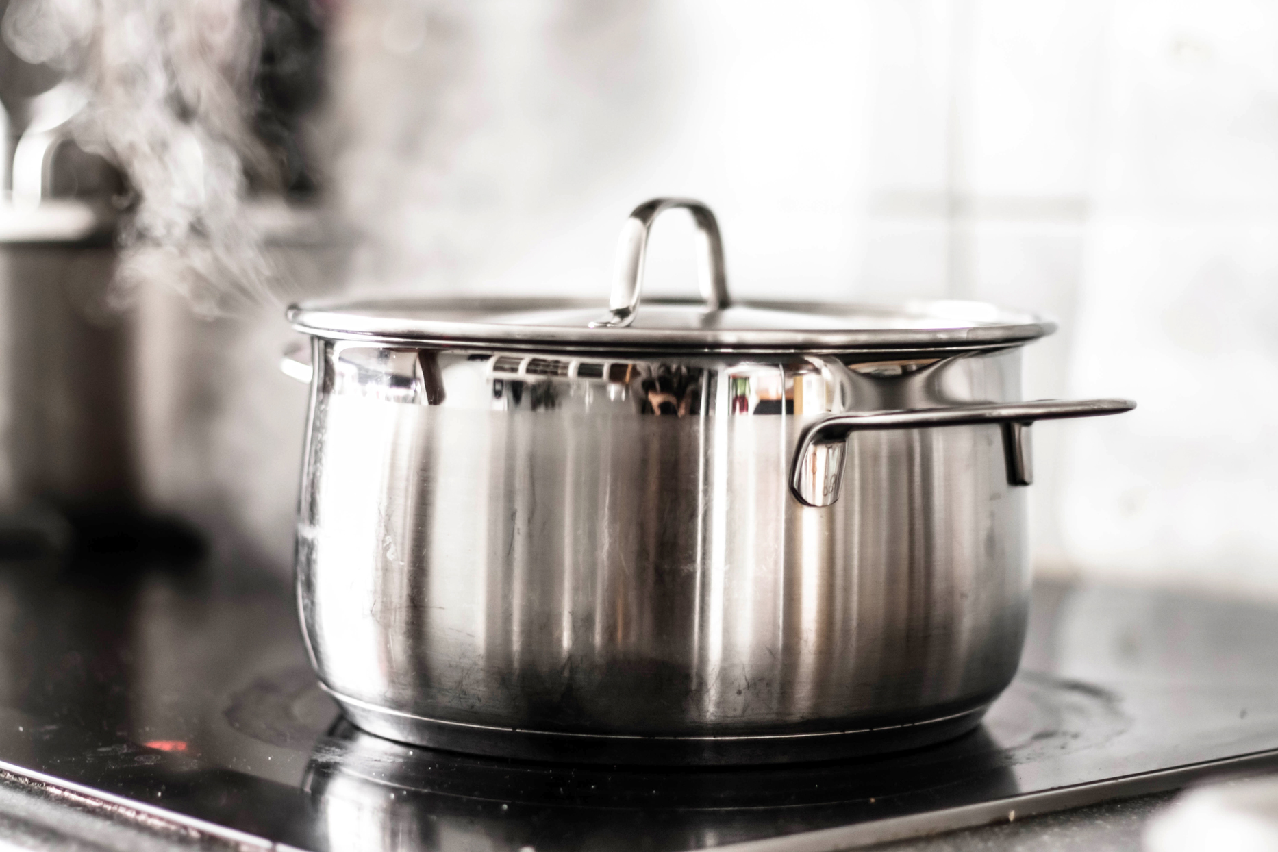 boiling steel pot on stove