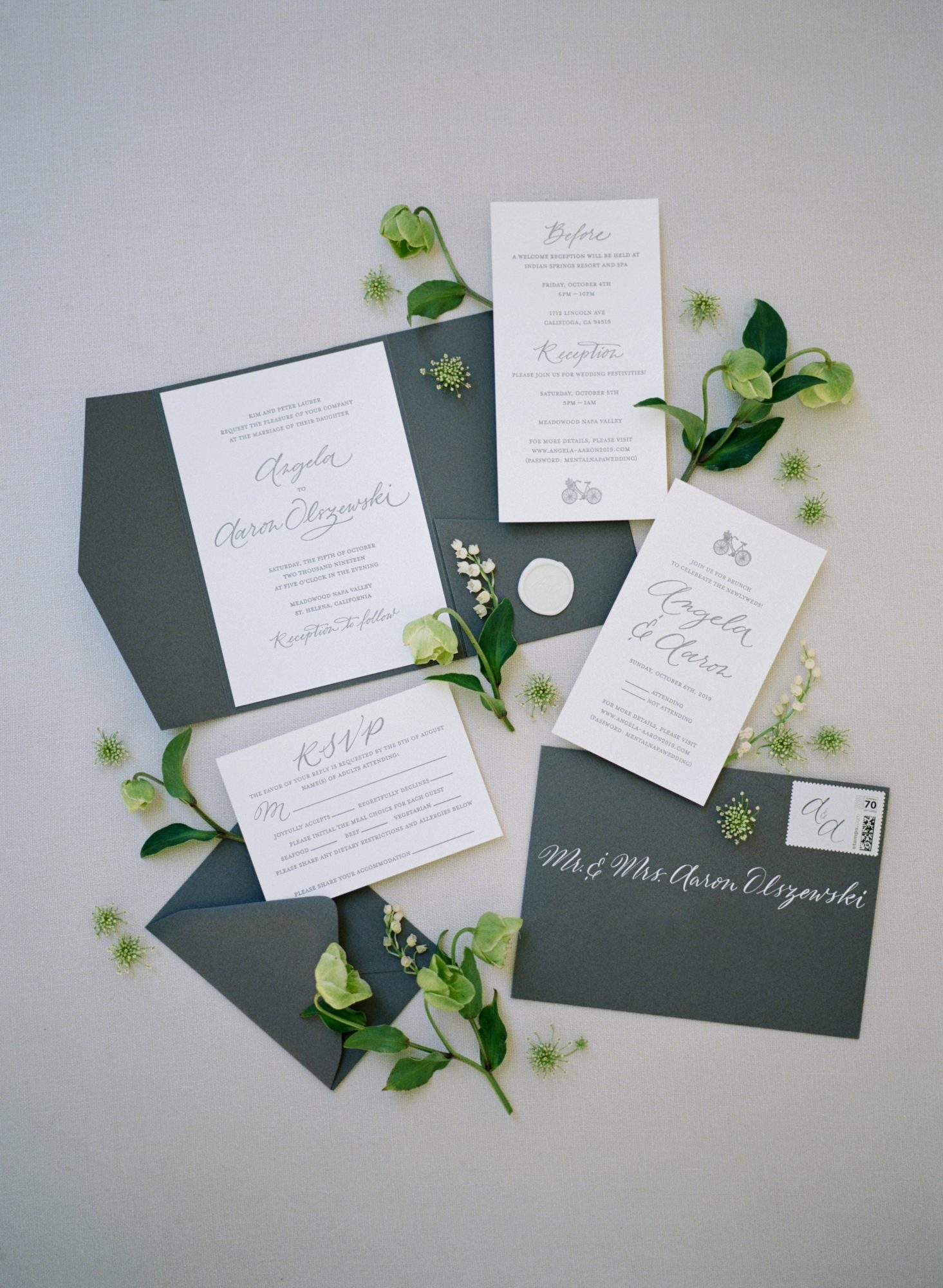 green invitation suite