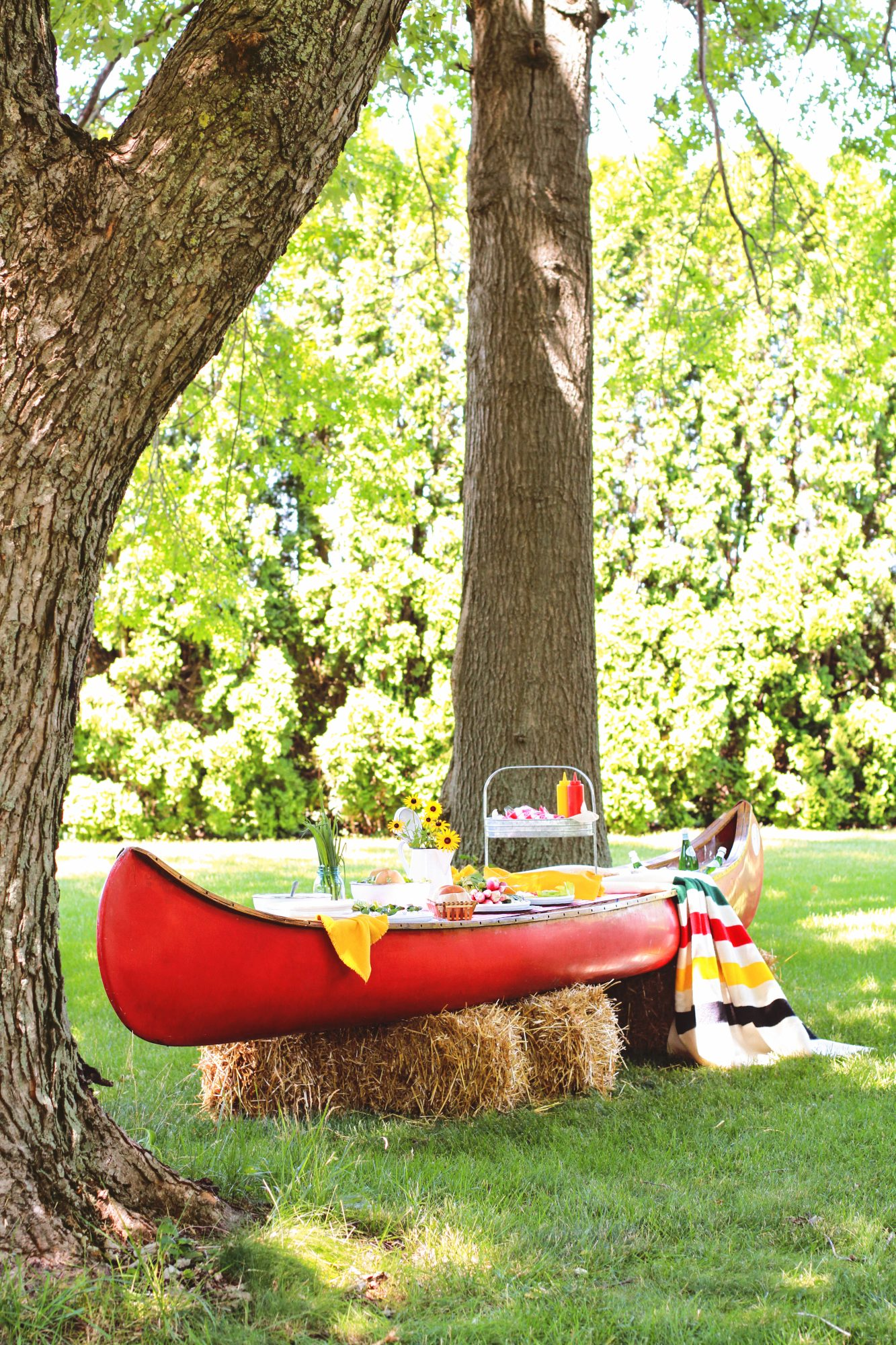 canoe upcycled for an outdoor buffet