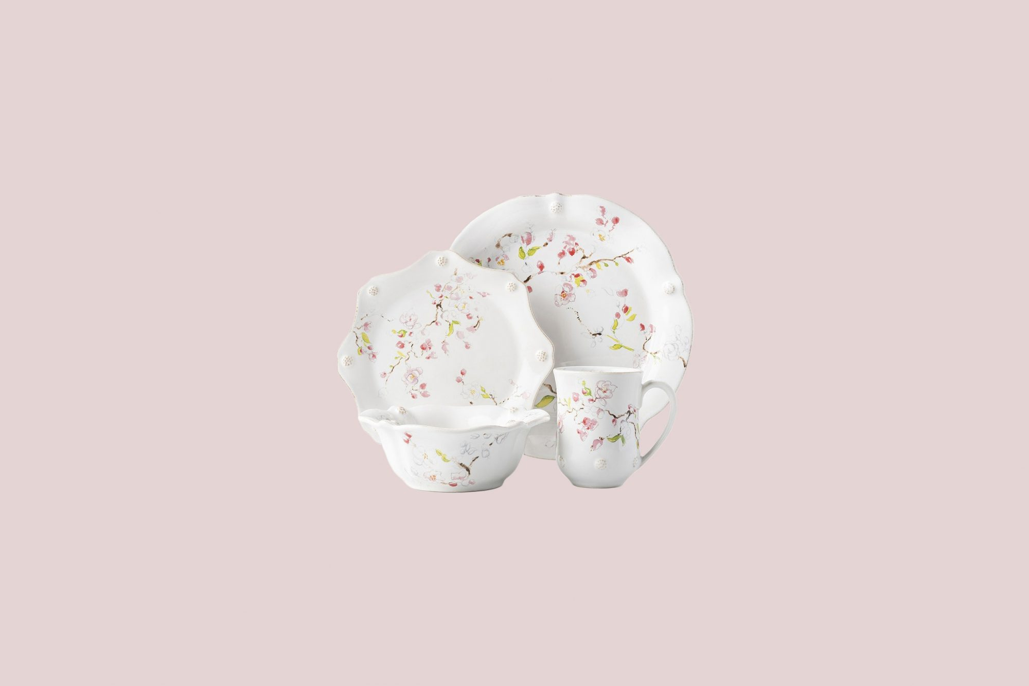 """Juliska """"Berry & Thread"""" Floral Sketch Place Setting in Cherry Blossom"""