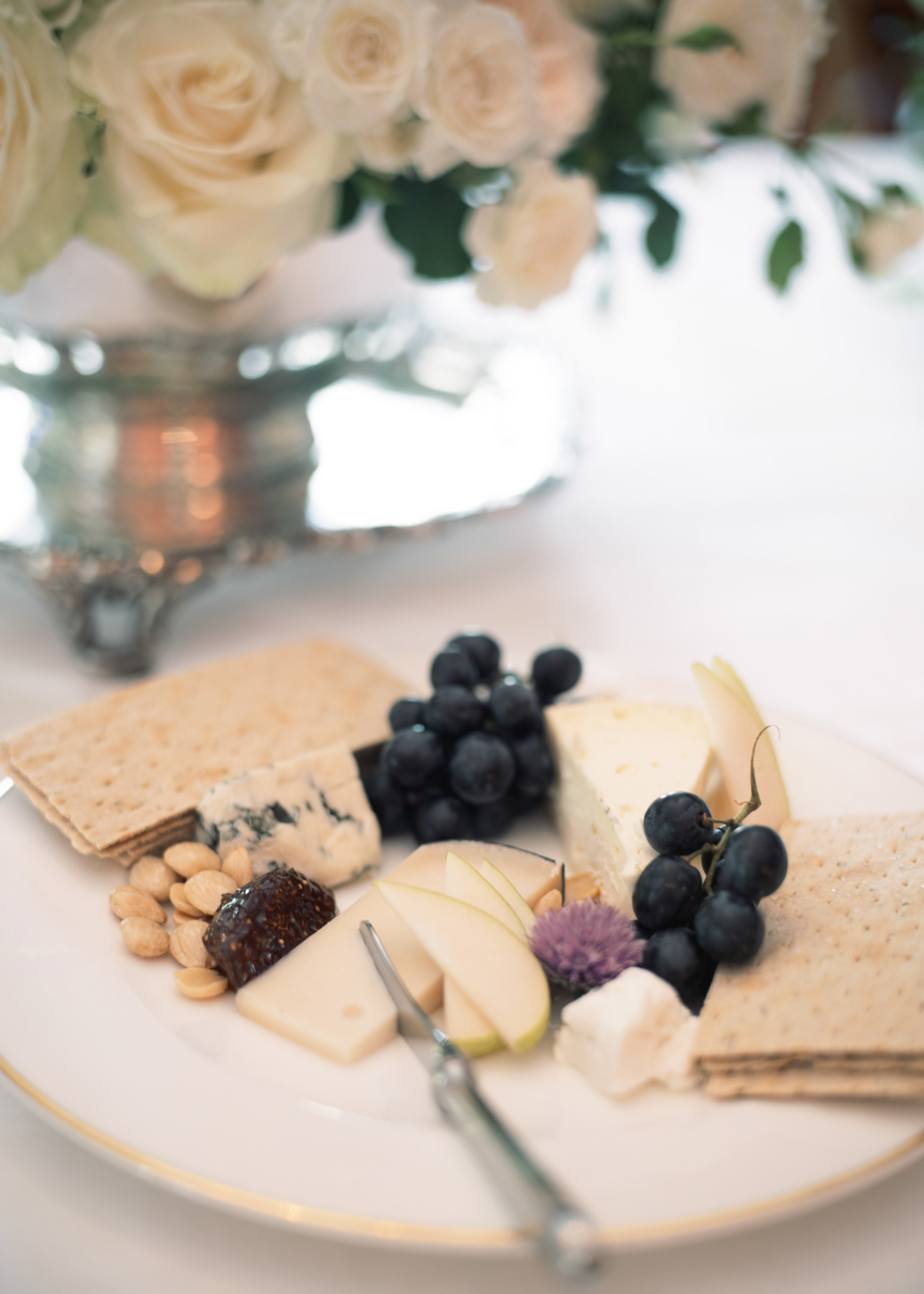 wedding cheese plate with crackers and fruit