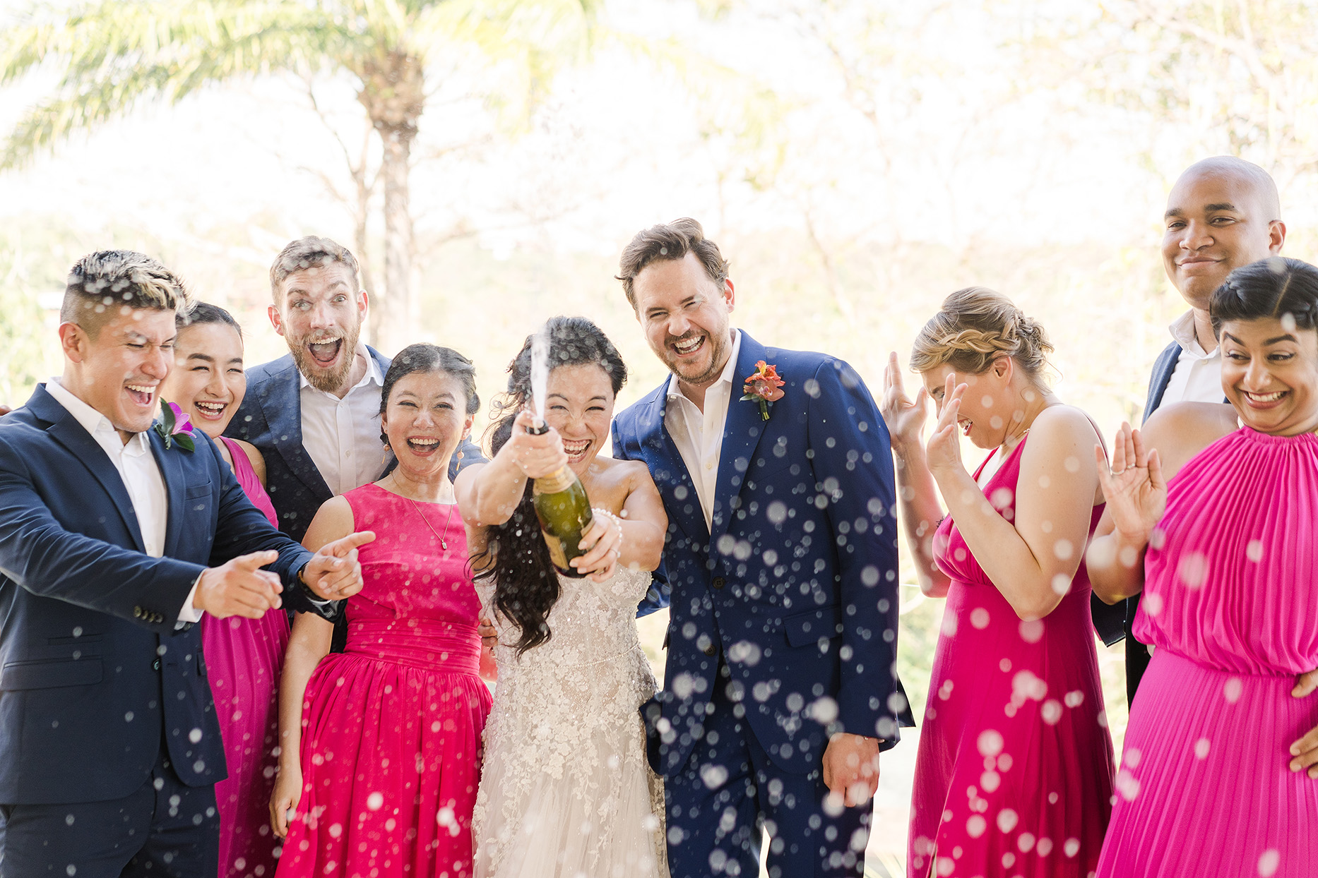 lillie riley wedding party champagne