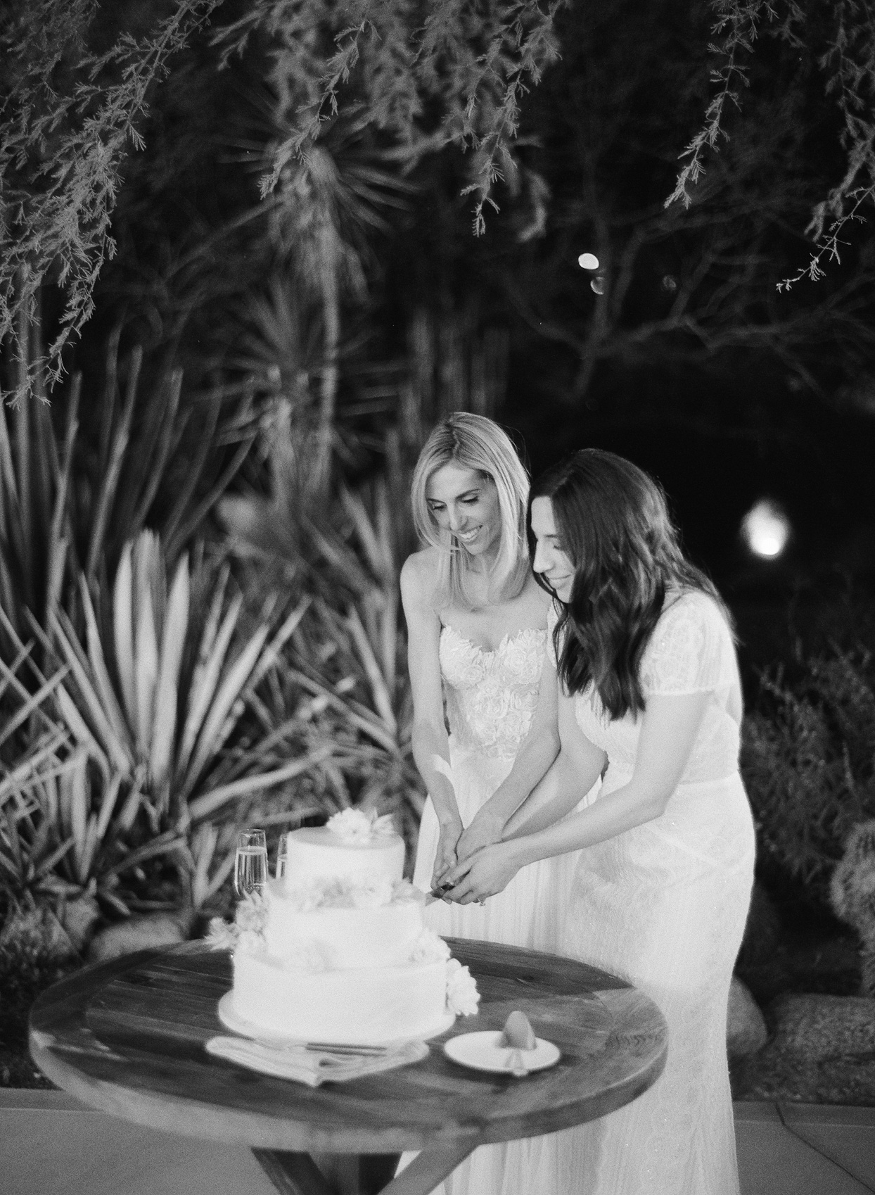 brides cutting cake together at wedding reception