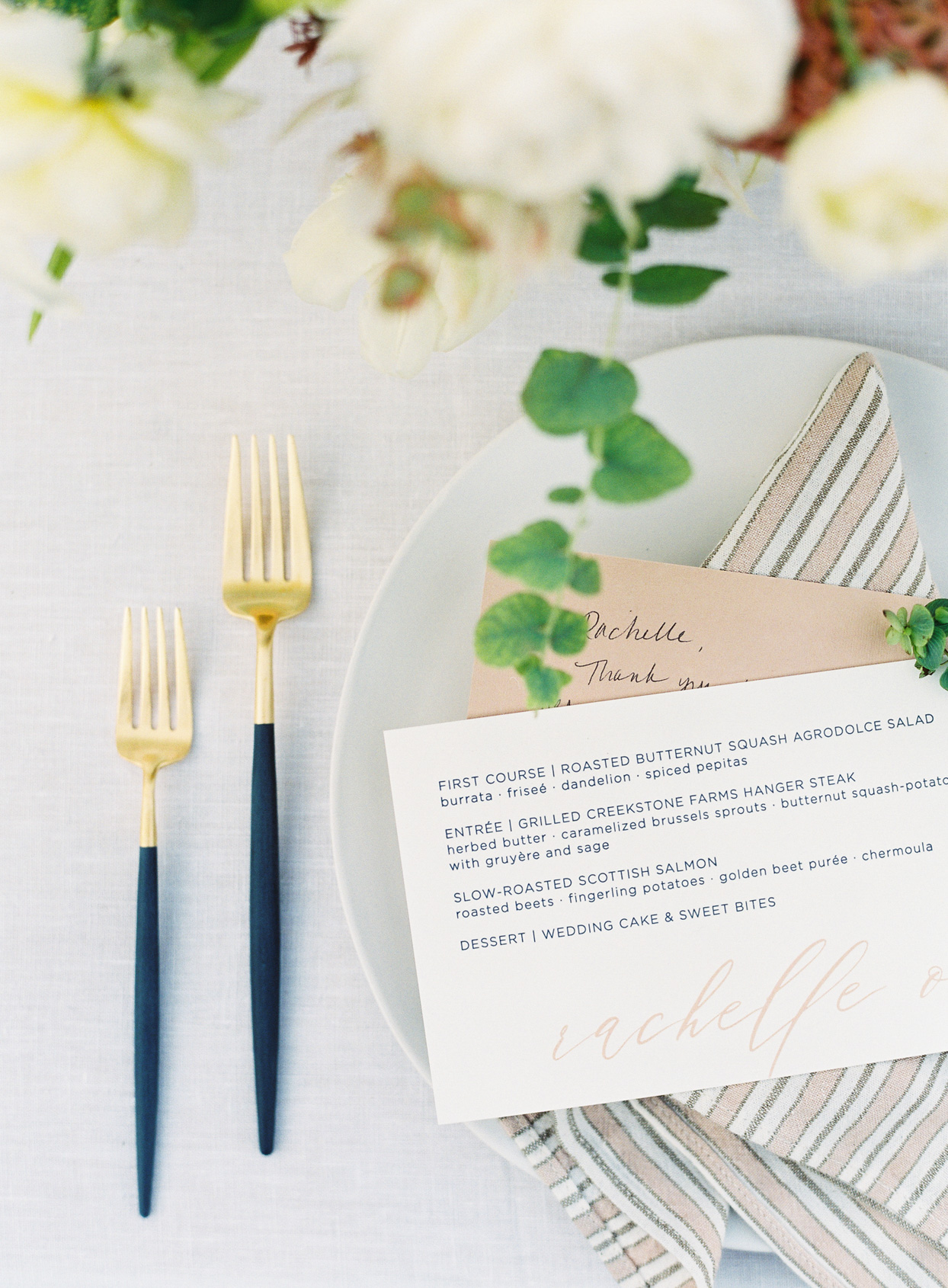simple wedding reception menu cards on place settings