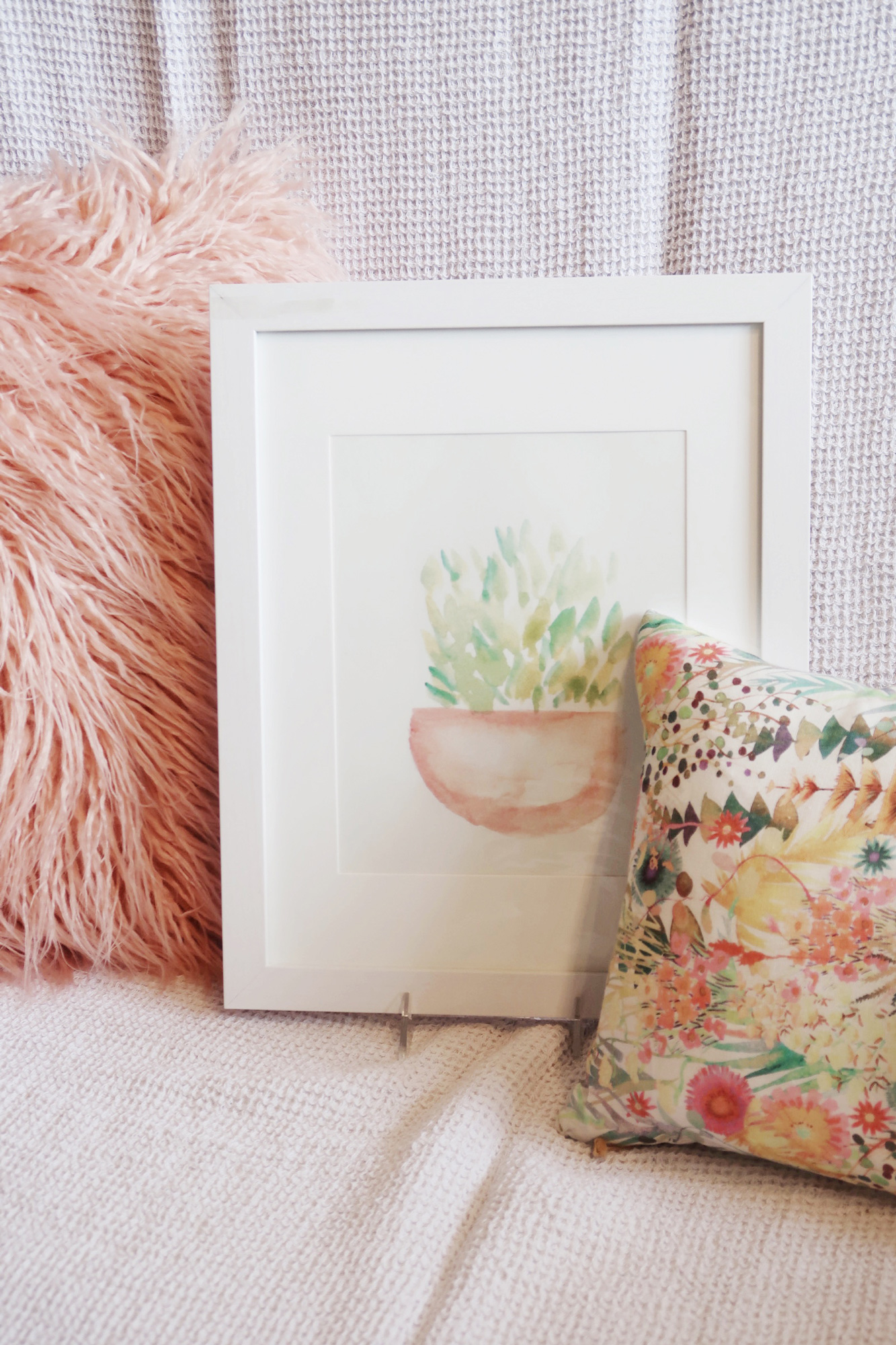 Potted plants watercolor print with white matte and frame