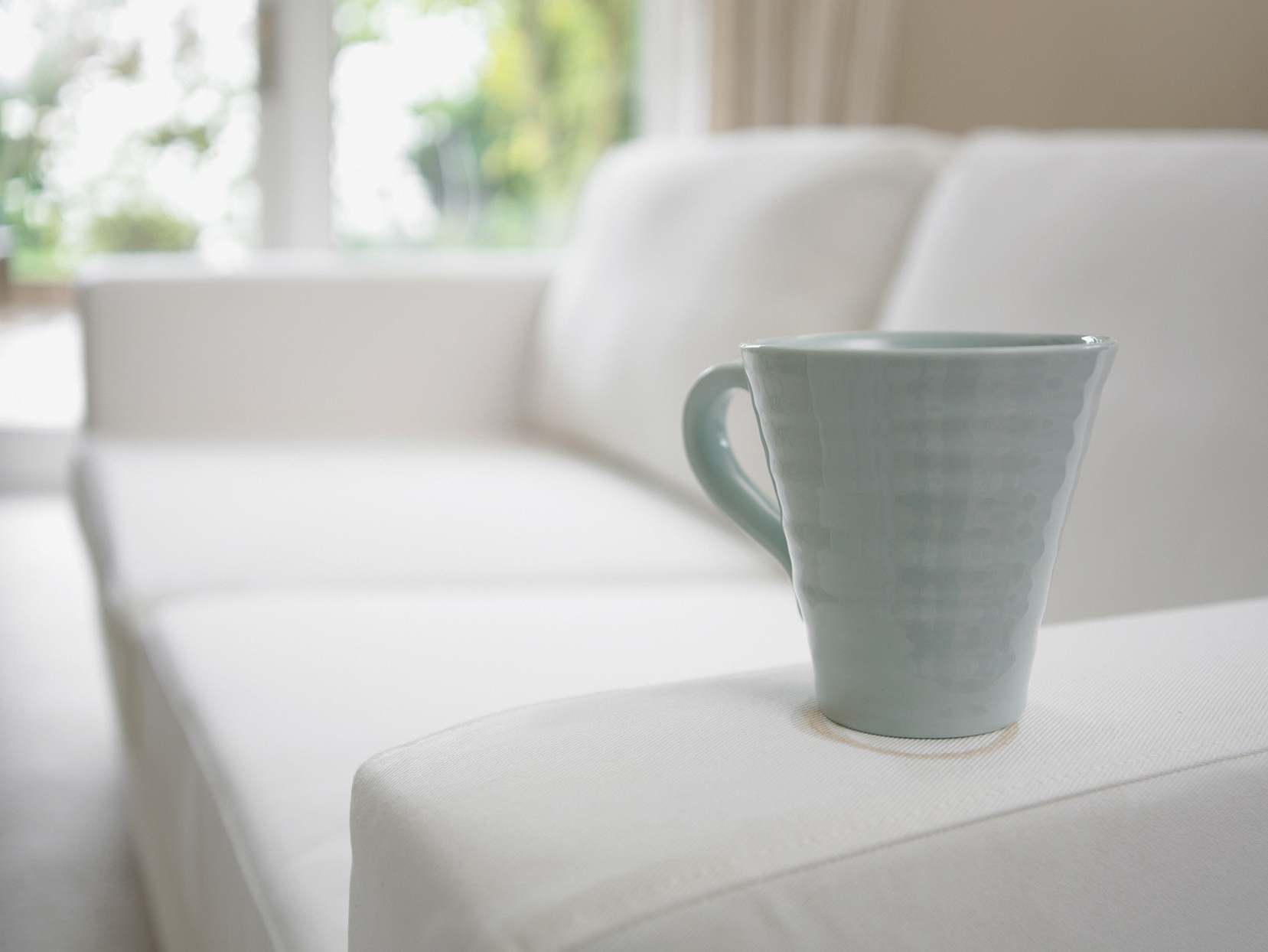 coffee cup staining white couch
