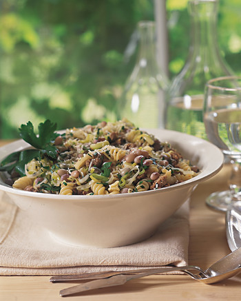 fusilli with shell beans and sausage