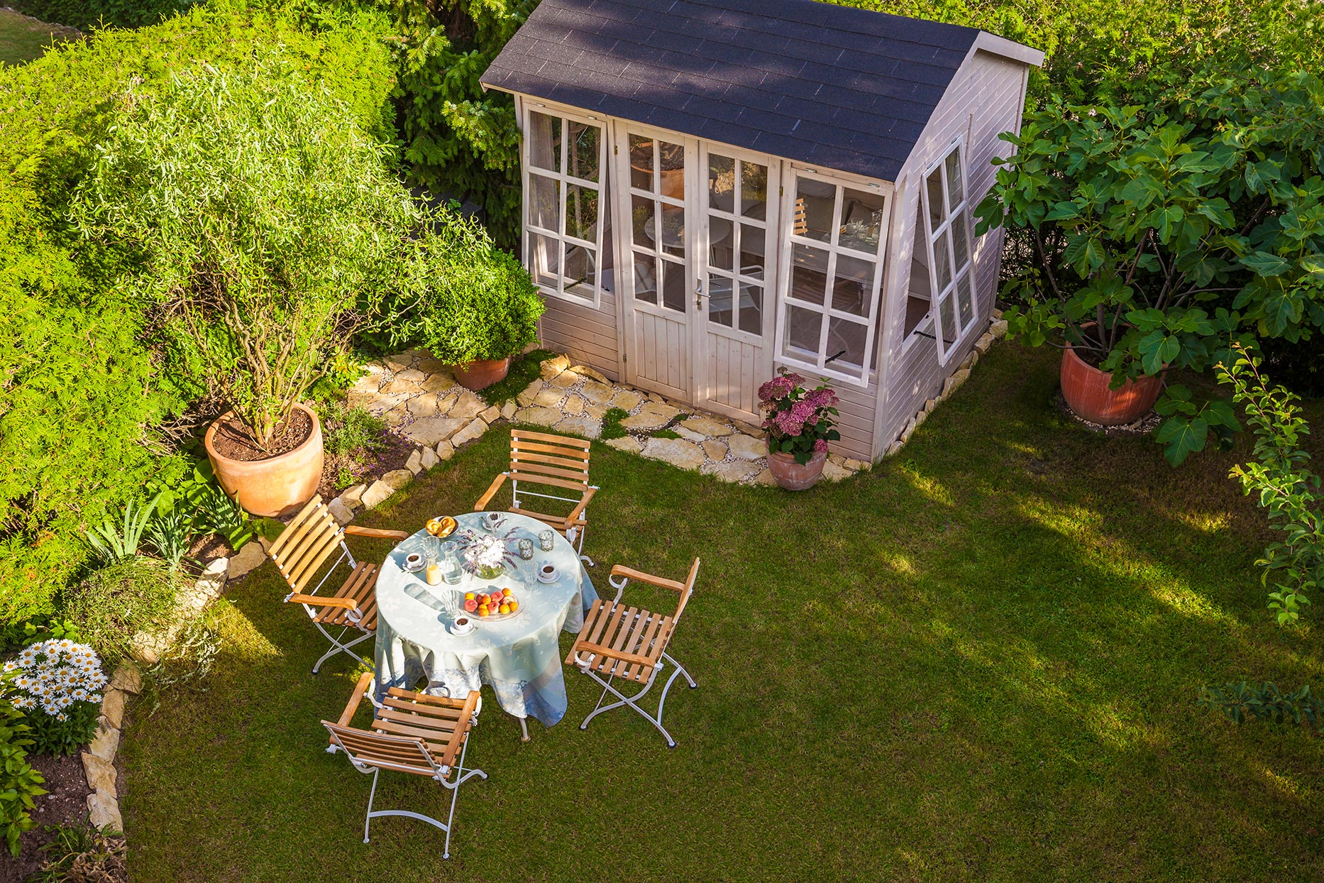 overhead view of garden shed
