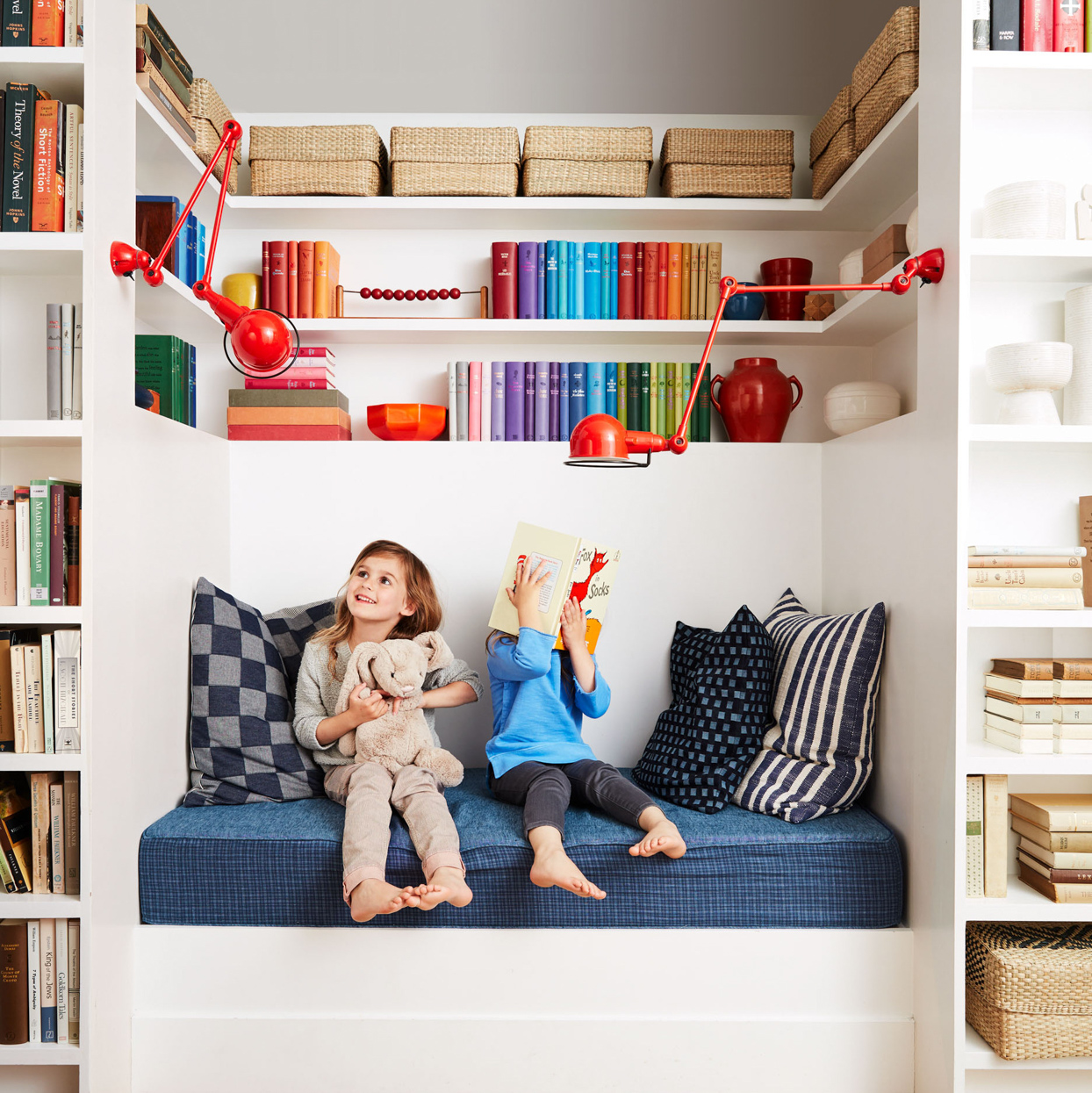 kids playing in colorful reading nook