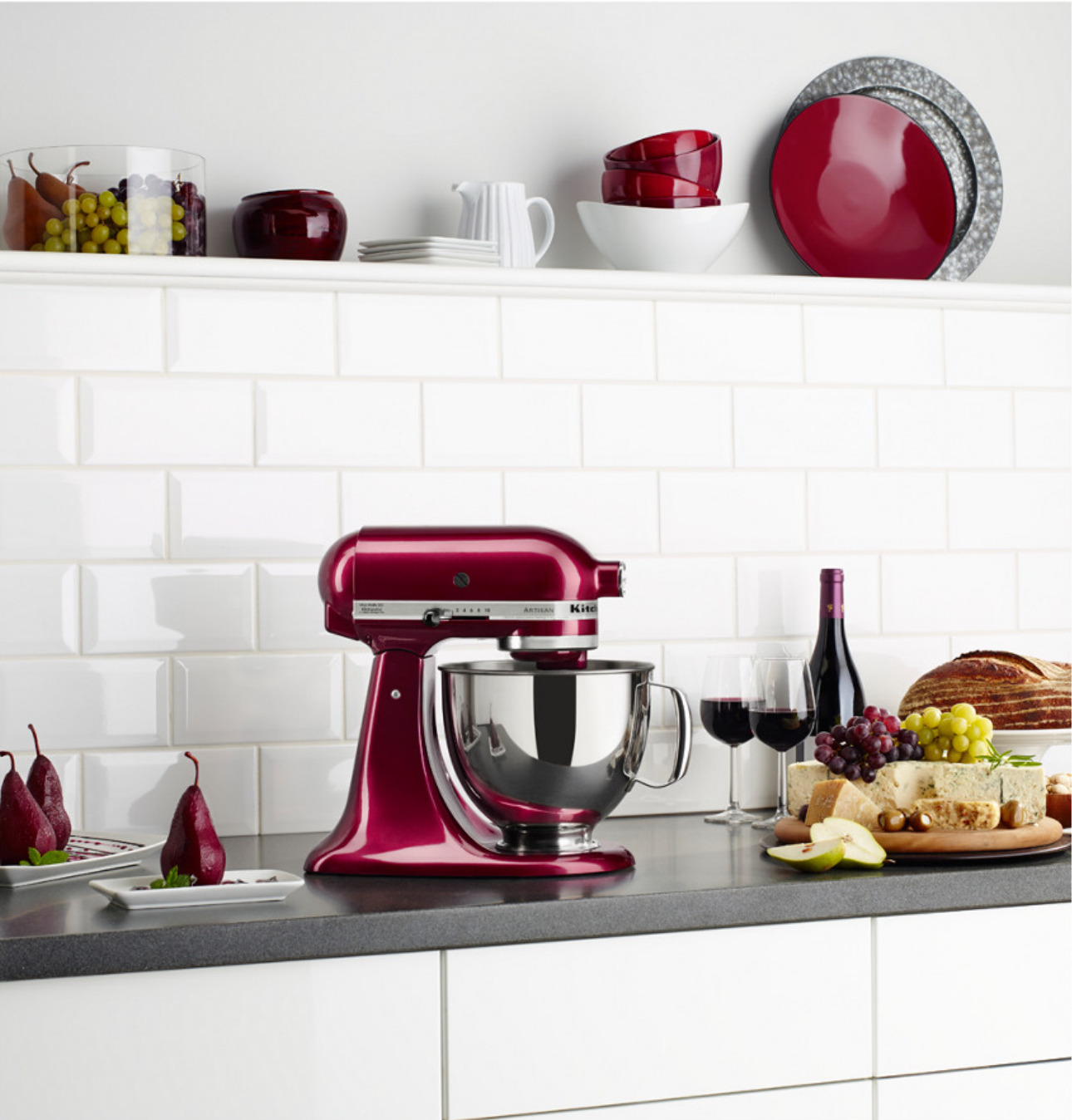 KitchenAid stand mixer in a deep red