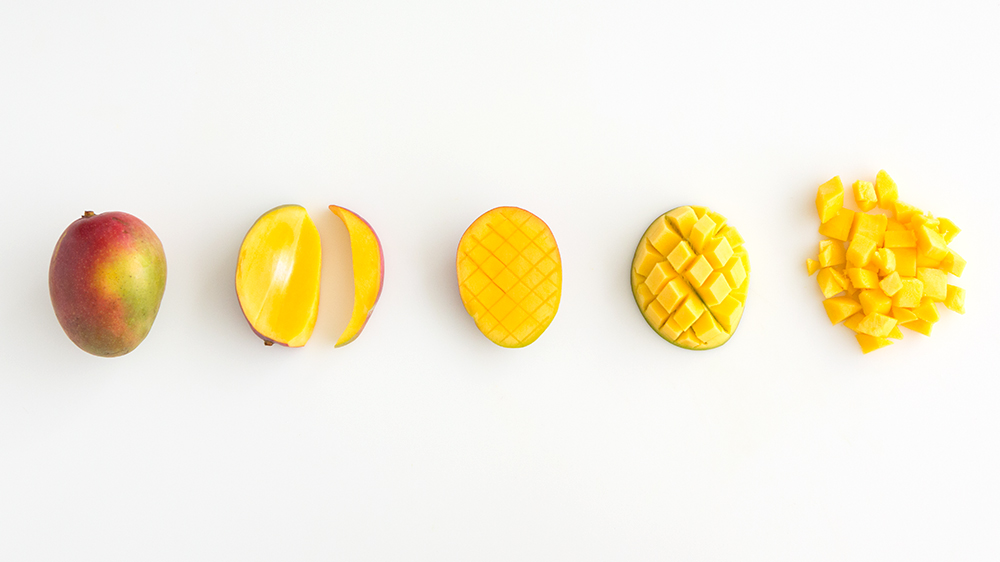 steps showing how to cut a mango from whole fruit to diced pieces