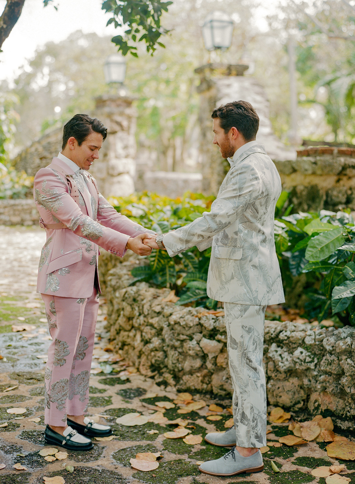 Grooms' first look