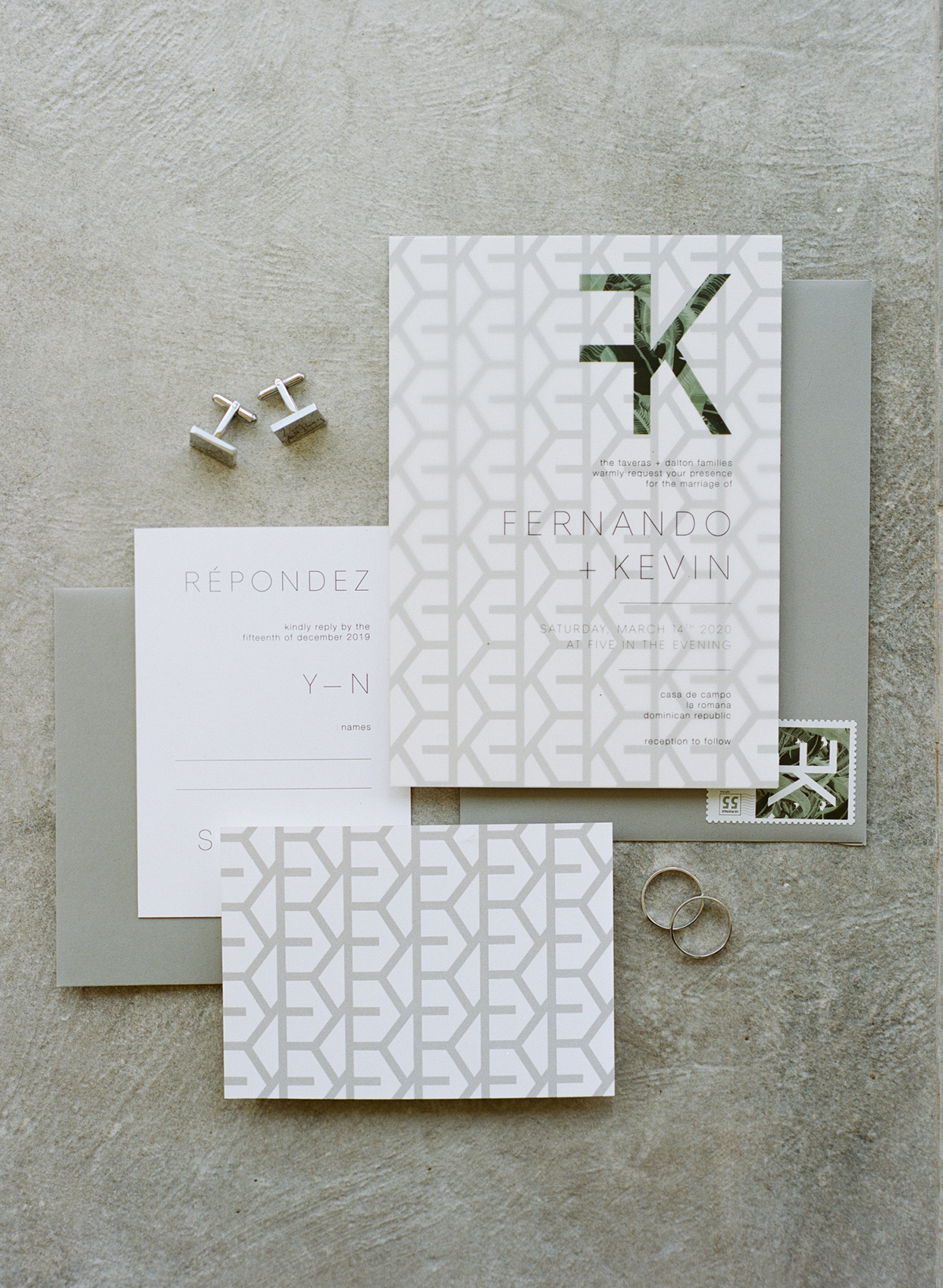 Wedding invitations created by groom