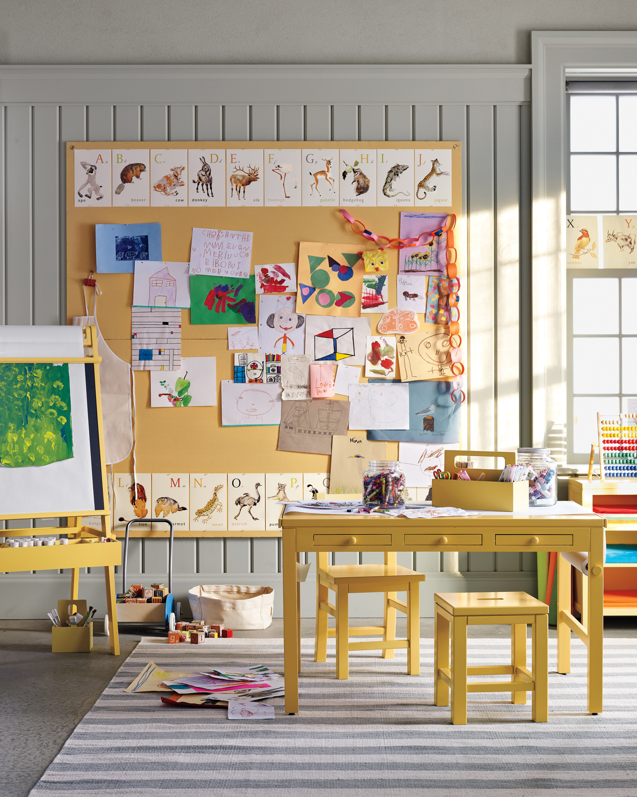 kids art room filled with crafts