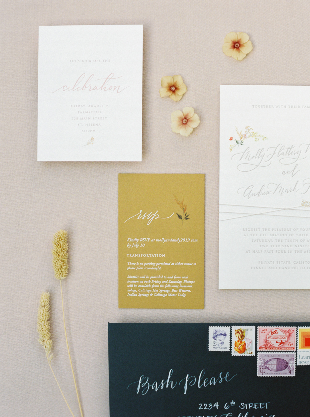 elegant white and gold wedding stationary suite