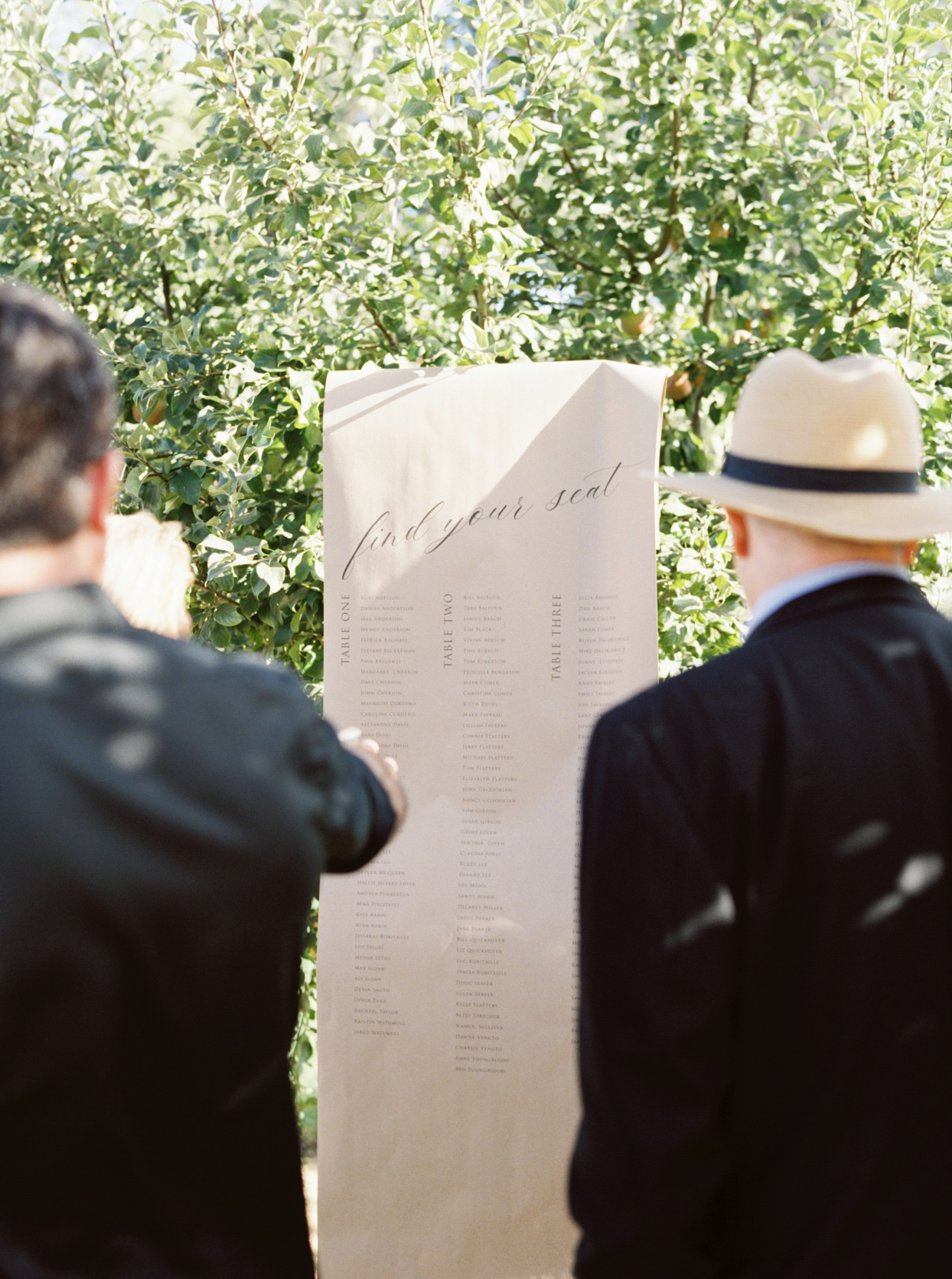 guests pointing at welcome party seating chart