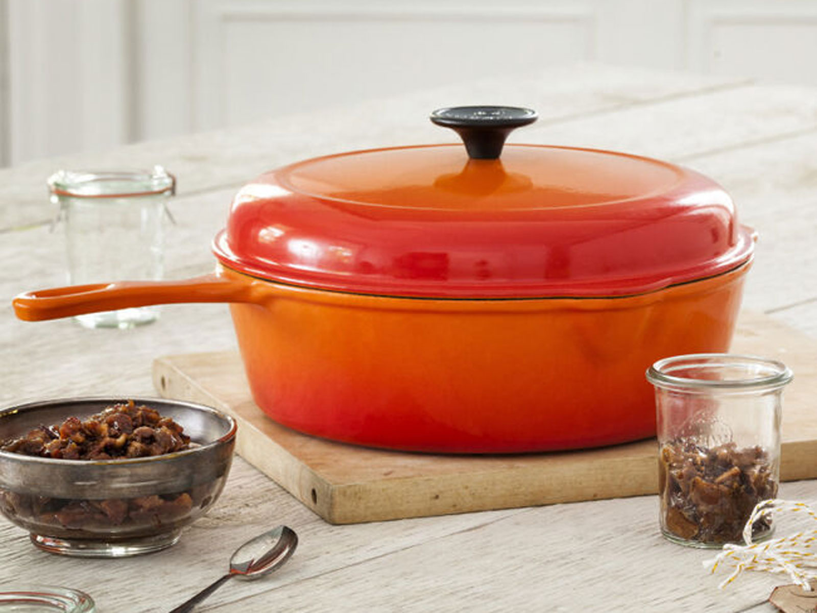 Deep covered skillet in orange from Le Creuset